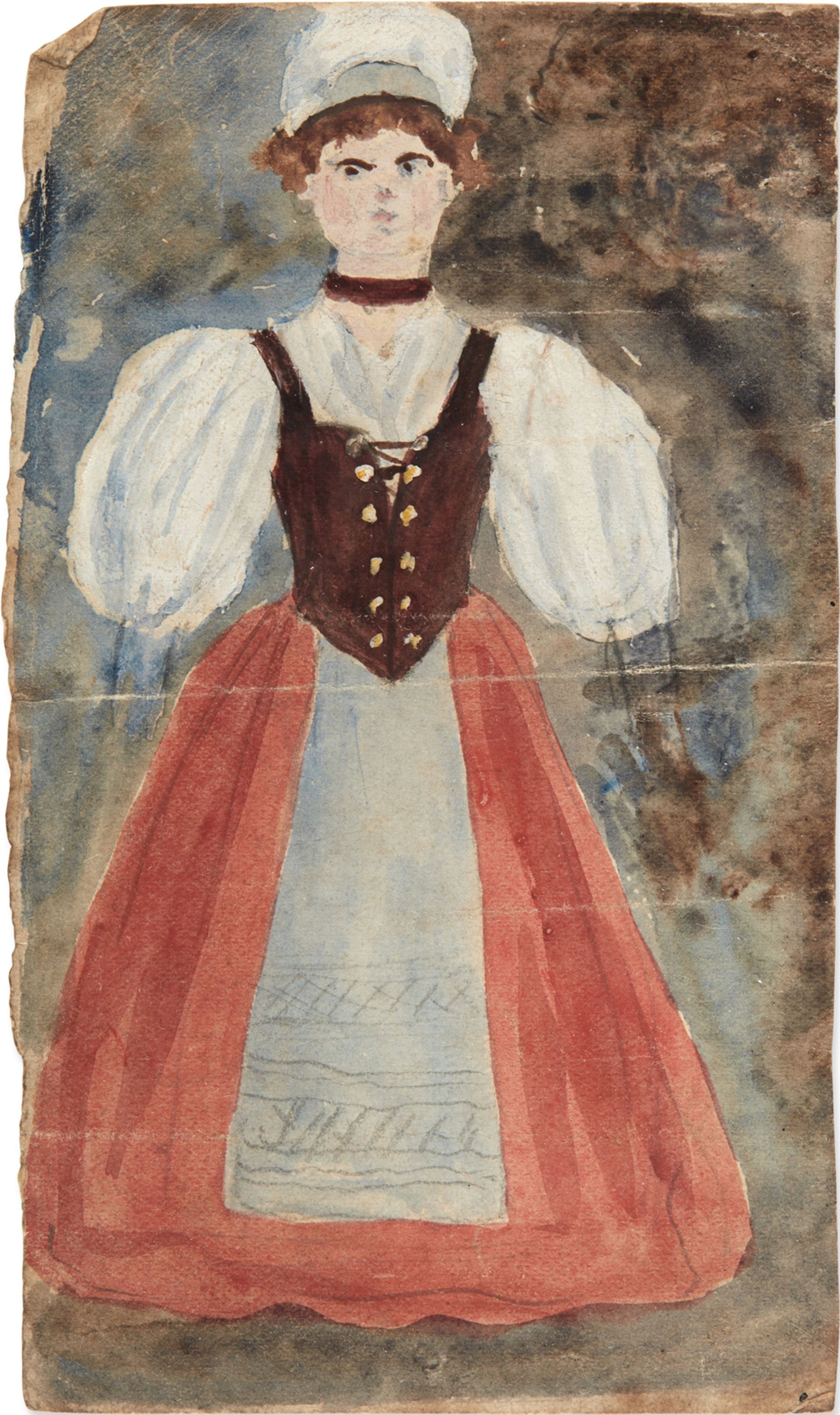 Charlotte Brontë Juvenile watercolour portrait of a Glass Town peasant woman (around 1828) Image: courtesy of Sotheby's