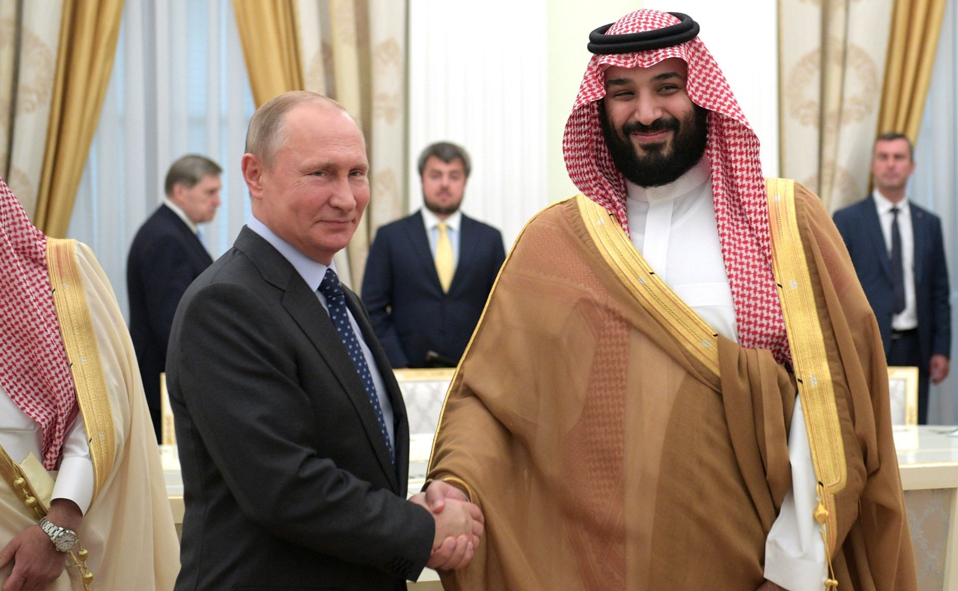 President Vladimir Putin of Russia with Crown Prince  Mohammed bin Salman of Saudi Arabia in Moscow in June Presidential Press and Information Office, Moscow
