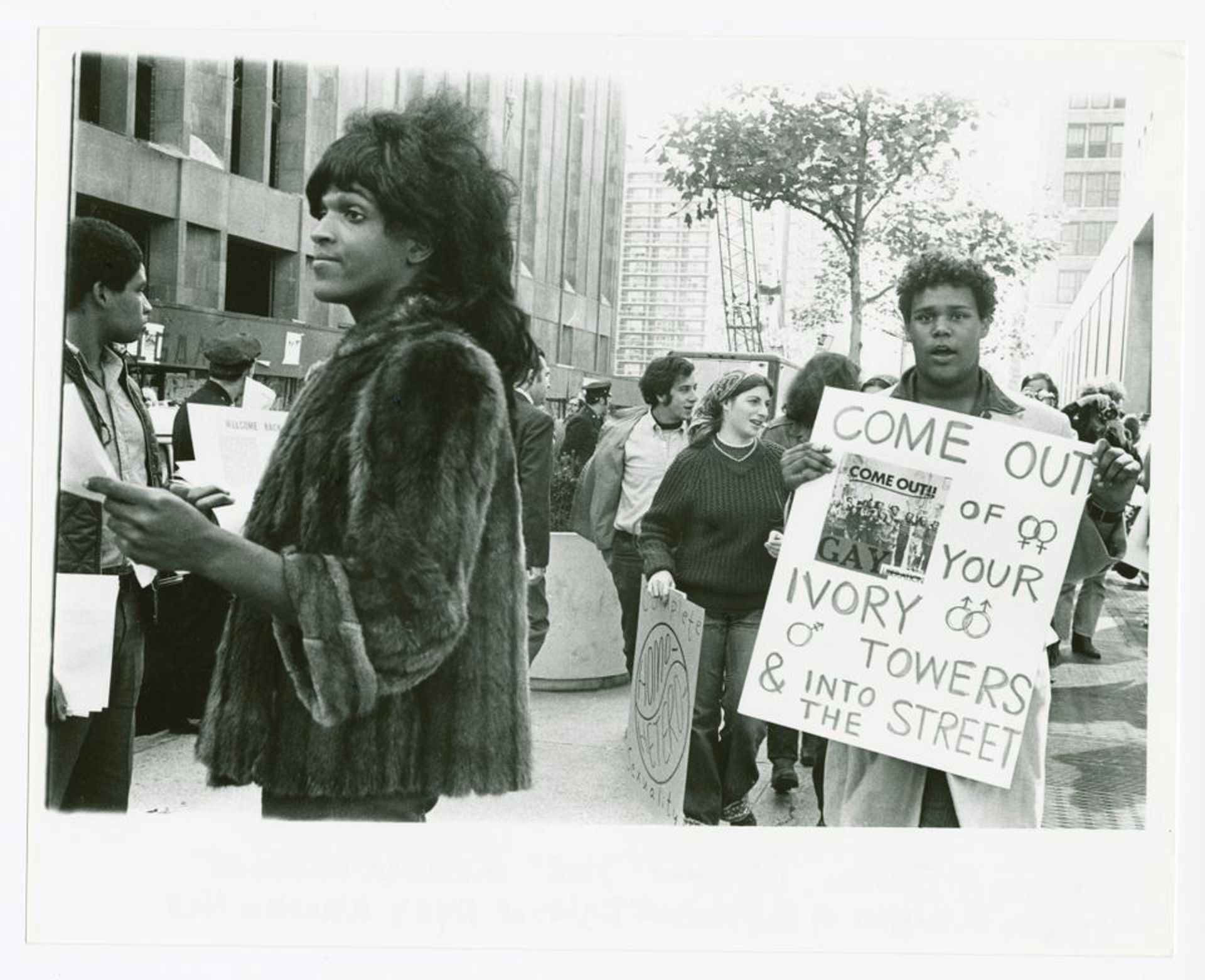 Untitled, around 1970 (Marsha P. Johnson hands out flyers in support of gay students at NYU). The image features in the exhibition Art After Stonewall, 1969-89 at New York University's Grey Art Gallery (until 20 July) and the Leslie-Lohman Museum of Gay and Lesbian Art (until 21 July). © Diana Davies / New York Public Library / Art Resource, NY.