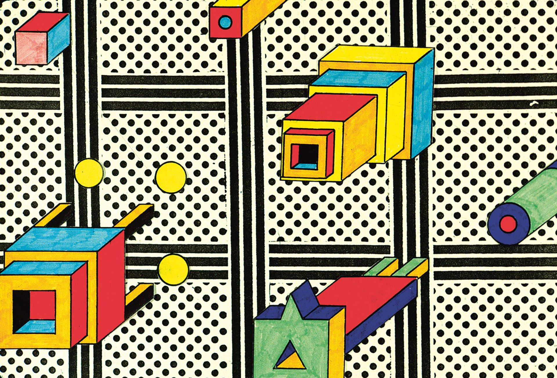 Nathalie du Pasquier, Untitled (around 1984), marker and collage Courtesy the artist. © Nathalie du Pasquier