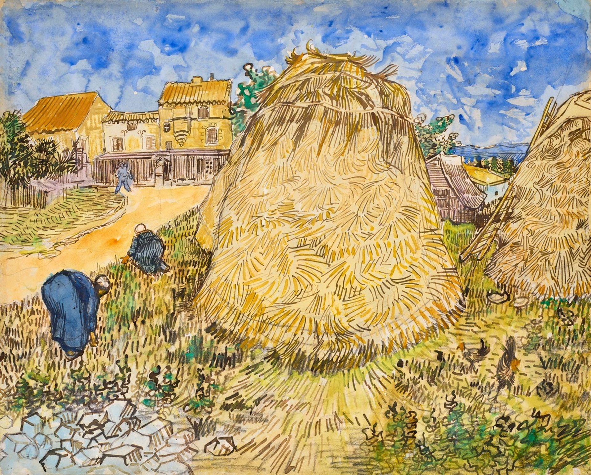 Van Gogh's Meules de Blé (Wheatstacks), watercolour (June 1888) © Christie's Images Ltd 2021