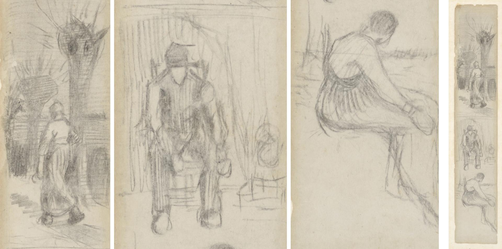 The left three images show close-ups of the newly discovered bookmark by Van Gogh, shown in full on the right Courtesy of the Van Gogh Museum, Amsterdam (bought with support from BankGiro Loterij)