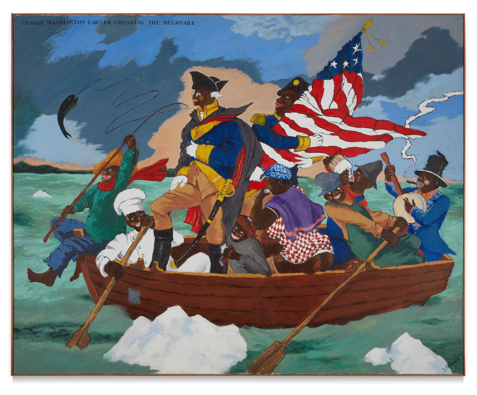 Robert Colescott, George Washington Carver Crossing the Delaware River: Page from an American History Textbook (1975) Courtesy, Sotheby's
