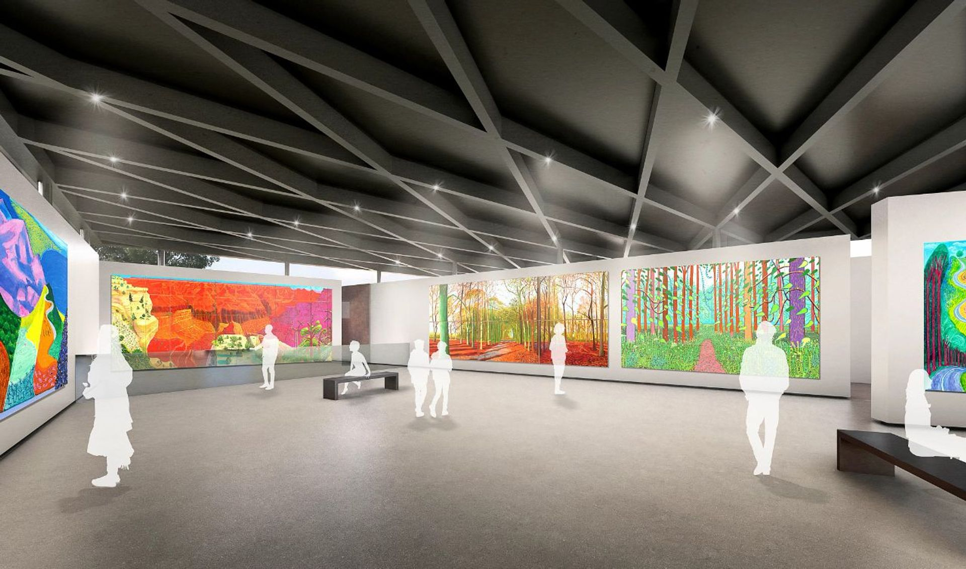 A rendering of the gallery space with works by David Hockney