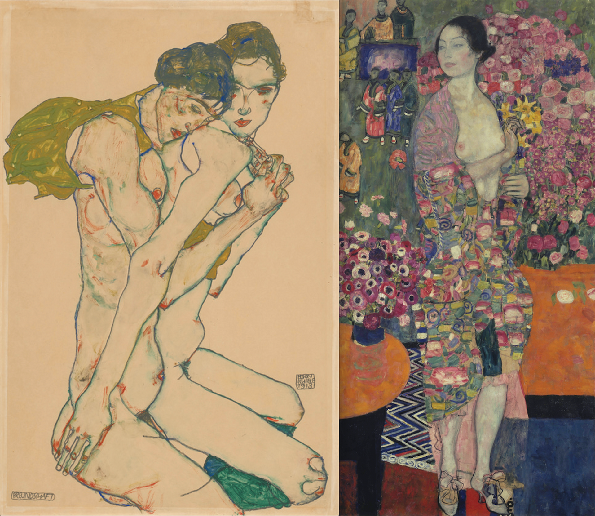 The Neue Galerie's show—which includes Egon Schiele's Friendship (1913) and Gustav Klimt's The Dancer (1916-17)—also features a number of more explicit works Courtesy of Neue Galerie New York