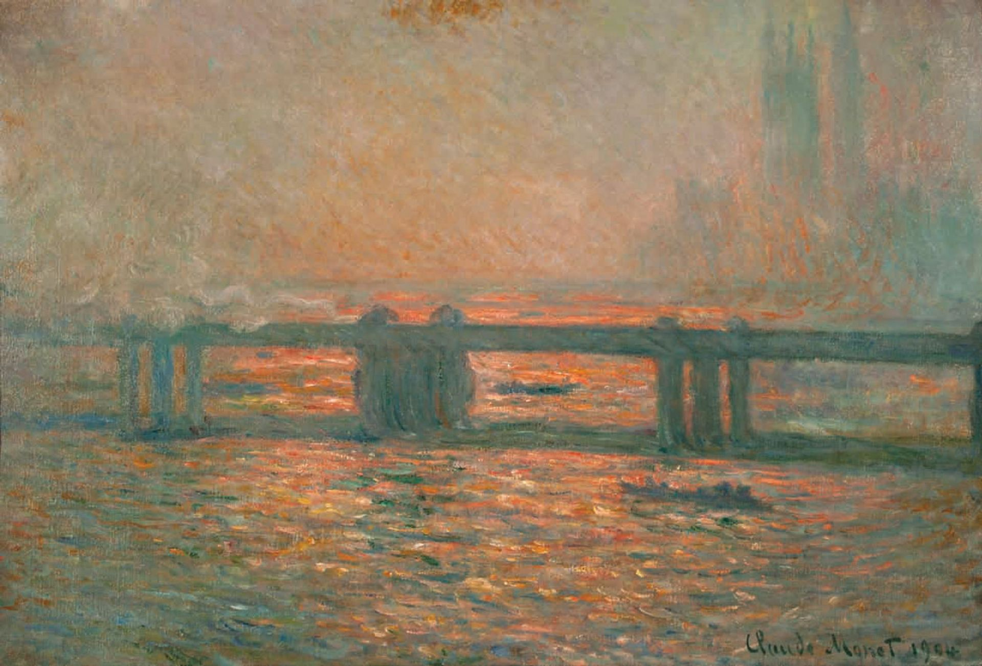 Monet's Charing Cross Bridge (1901-04), started in London, completed in Giverny