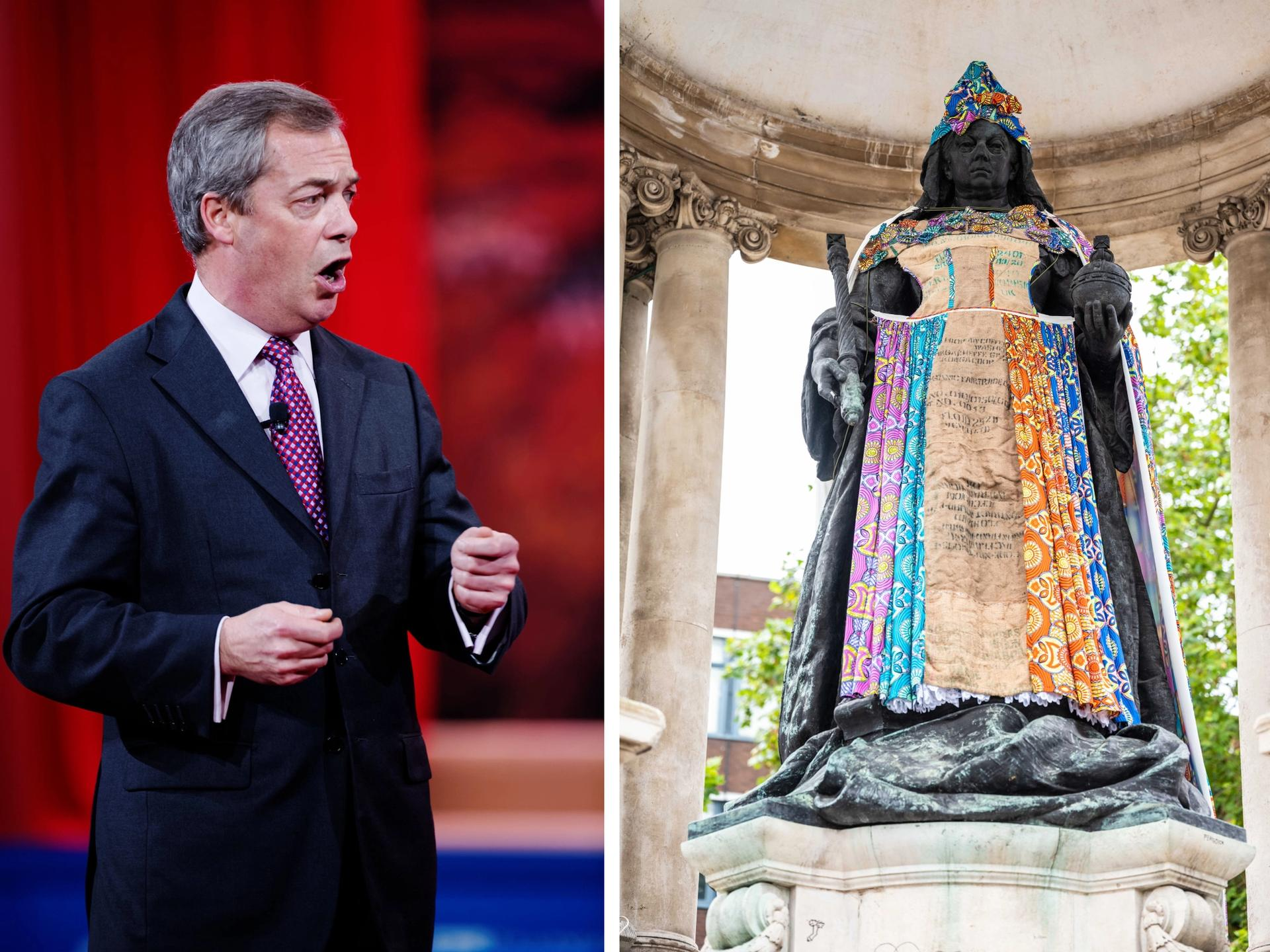 Nigel Farage (left) blasted Liverpool's art project dressing public statues in items that addressed the UK's slavery history Farage: Michael Vadon. Queen Victoria: photo: David Edwards, courtesy of Sky Arts and Culture Liverpool