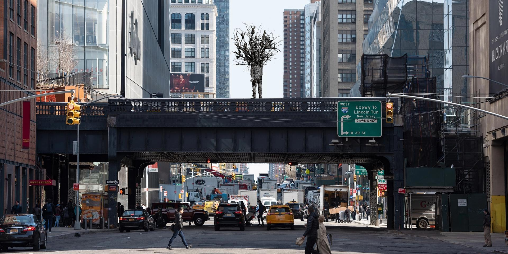 """A rendering of Nick Cave's proposal, """"A-mal-gam"""", for the High Line's plinth. Courtesy of High Line Art"""