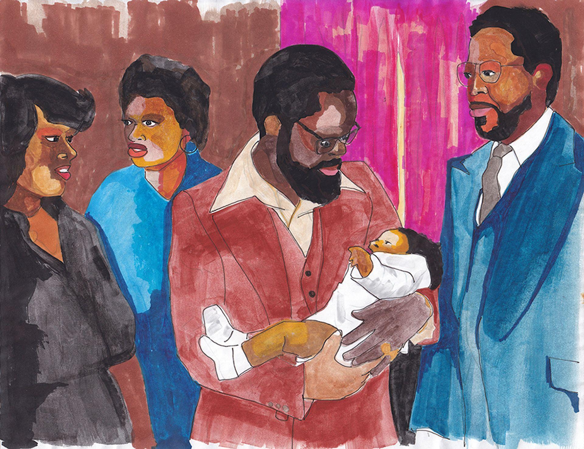 Derrick Adams, Family Portrait No. 6 Courtesy of the artist