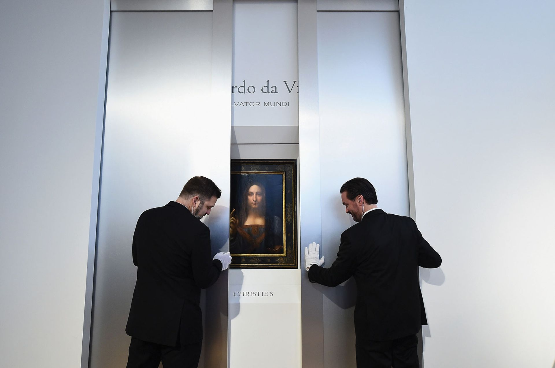 Leonardo's Salvator Mundi was sold to an anonymous bidder for $450m at Christie's New York on 15 November 2017 and has been lost to public view ever since Photo: Ilya S. Savenok/Getty Images for Christie's Auction House