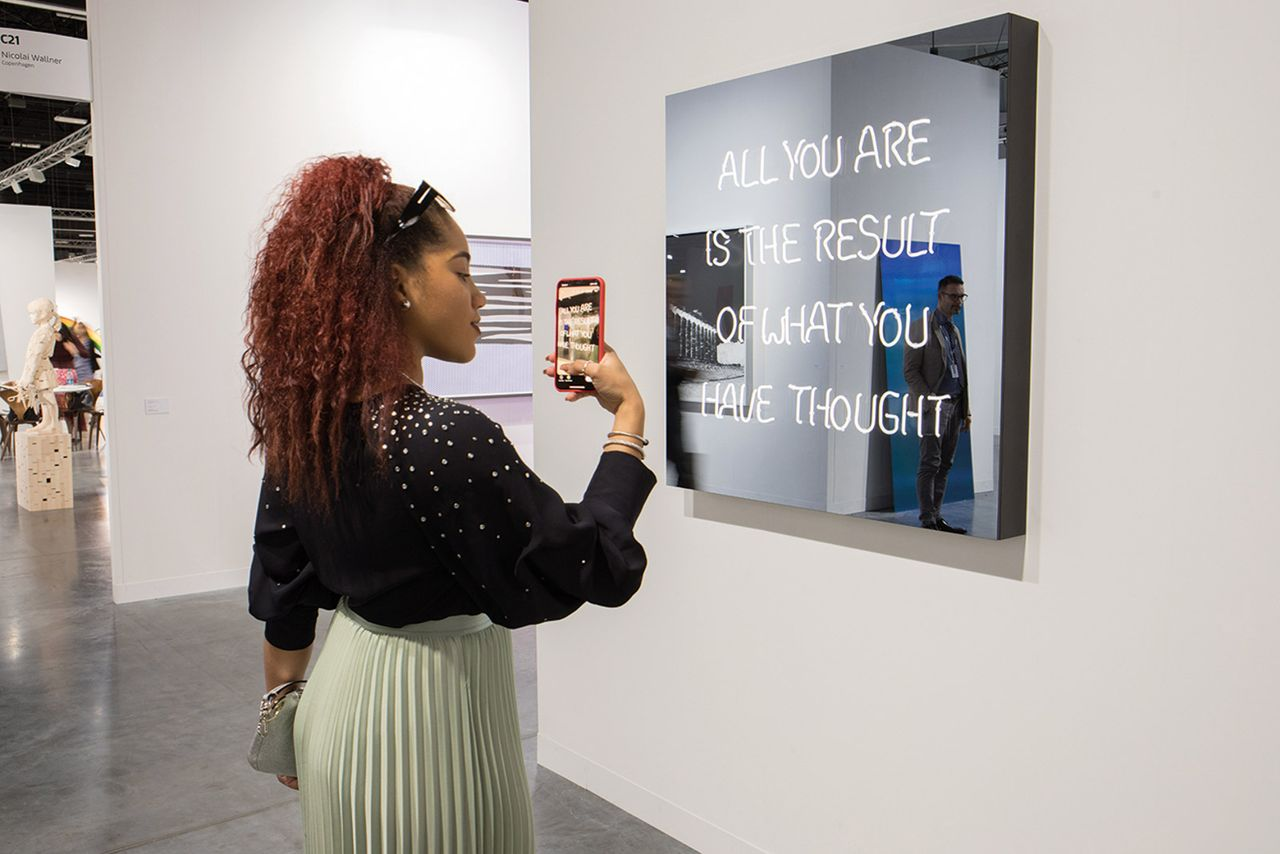 Jeppe Hein's All You Are is the Result of What You Have Thought (2019) at Art Basel in Miami Beach 2019 © David Owens