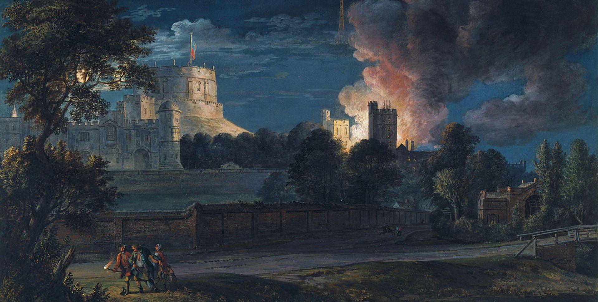 Paul Sandby's Windsor Castle from Datchet Lane on a rejoicing night (1768)