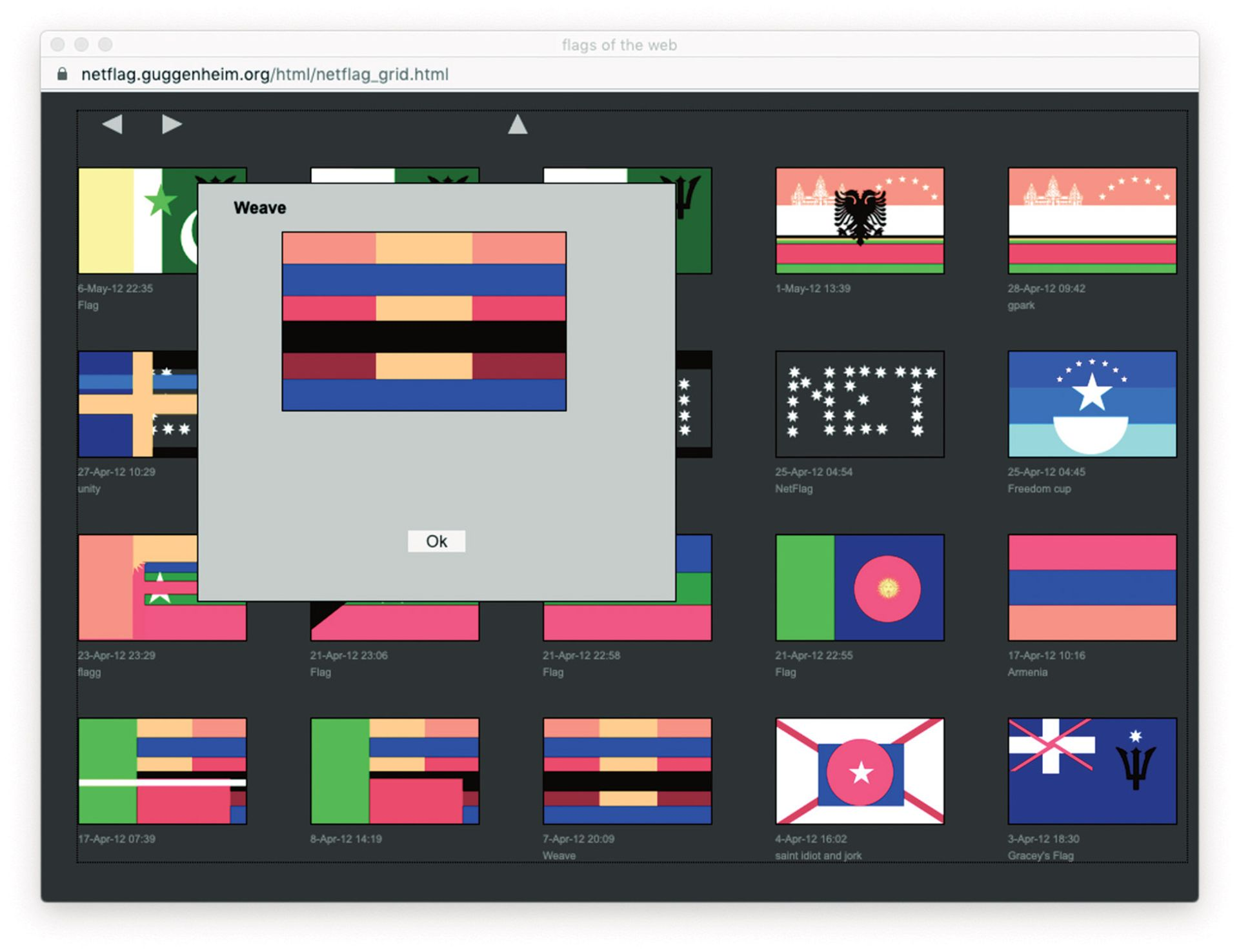 Mark Napier's net.flag (2002) turns the visual language of national flags into a tool for personal expression Courtesy of the Solomon R. Guggenheim Foundation