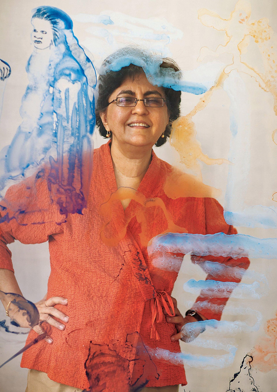 Nalini Malani's wall drawings and plastic sheet paintings explore ideas including sectarianism Photo: Rafeeq Ellias; © Nalini Malani