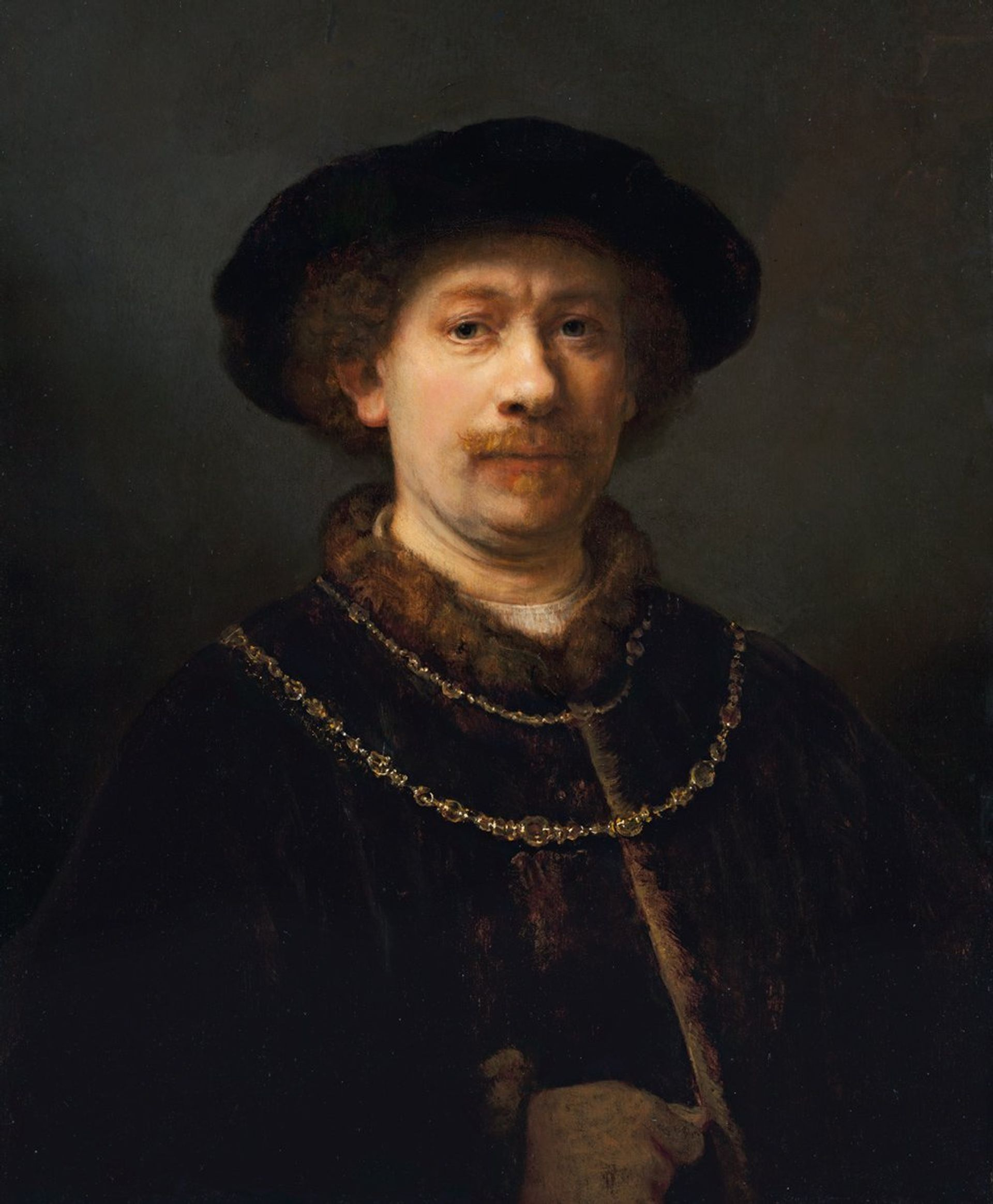 Rembrandt van Rijn, Self-portrait Wearing a Hat and Two Chains, (1642-43), oil on panel Photo © Museo Nacional Thyssen-Bornemisza, Madrid