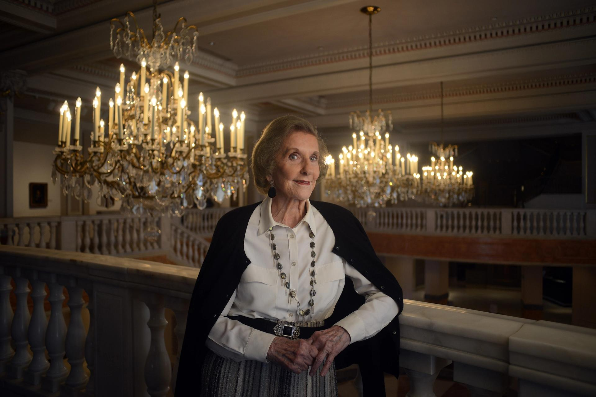 Wilhelmina Cole Holladay (then aged 91), the founder of the National Museum of Women in the Arts, poses for a portrait photograph inside the Washington, DC museum Photo: Astrid Riecken For The Washington Post via Getty Images