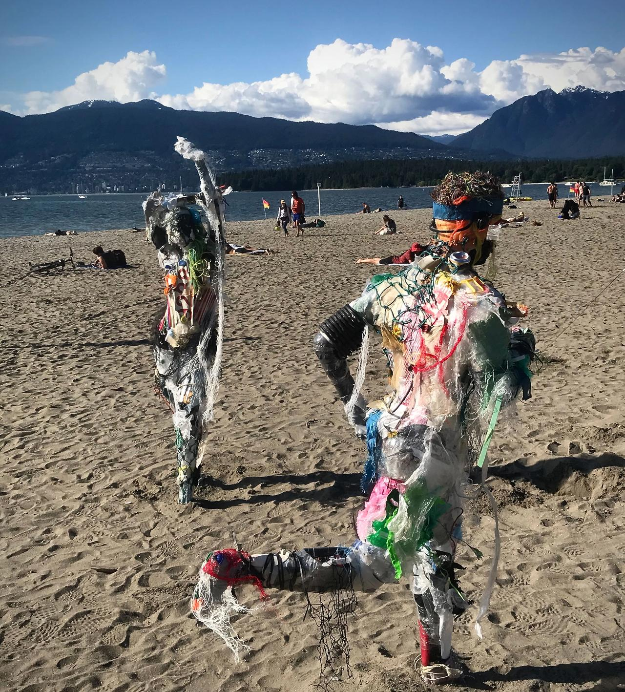 Caitlin Doherty's installation of figures made of sea trash on the beach in Kitsilano, Vancouver Photo: Hadani Ditmars