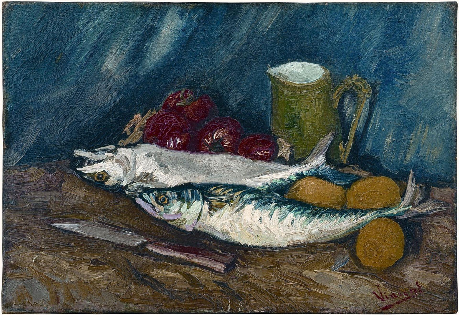 """Vincent van Gogh's Still Life with Mackerels and Tomatoes (1886) ©Sammlung Oskar Reinhart """"Am Römerholz"""", Winterthur"""