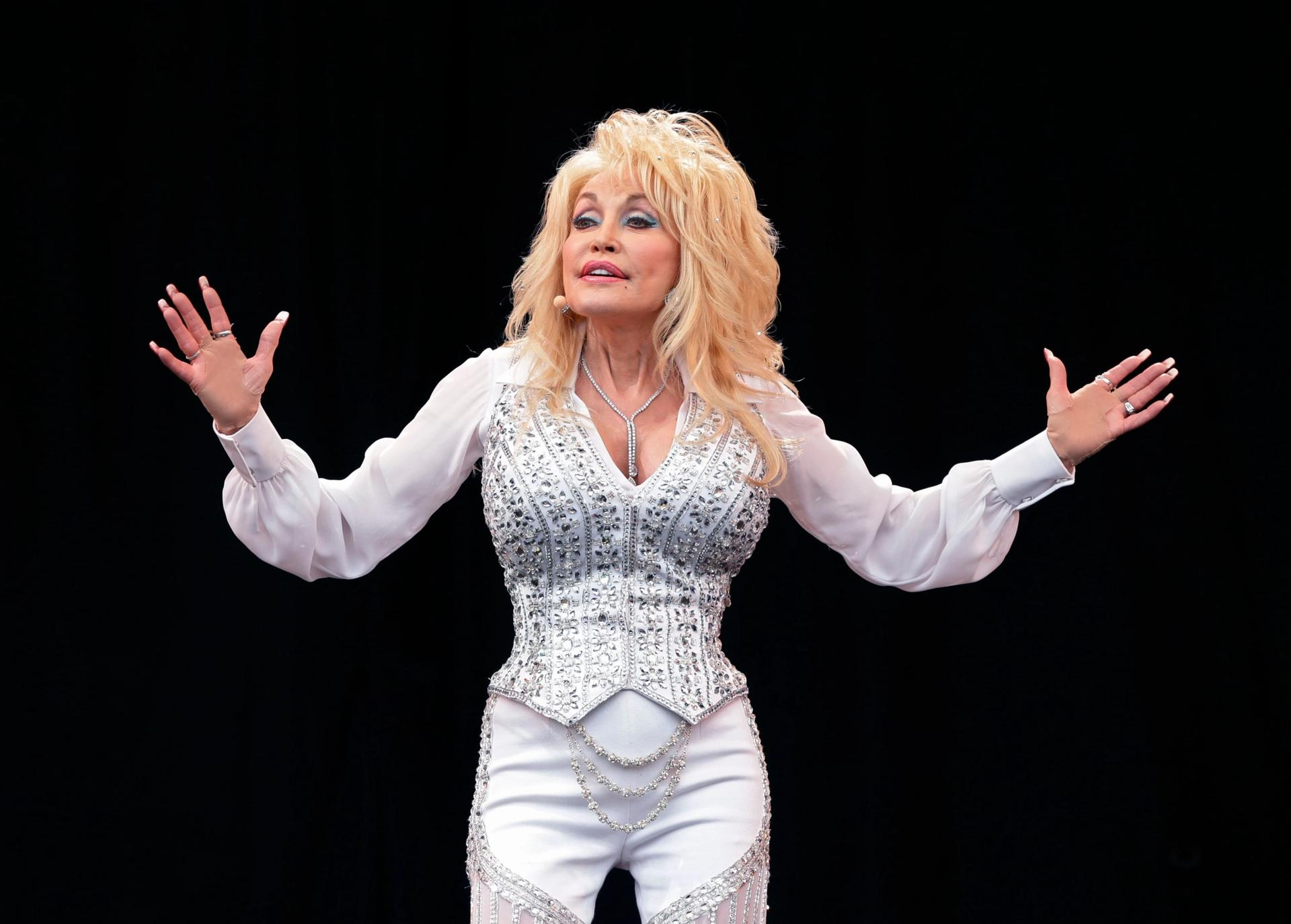 """Dolly doesn't need a statue just yet: the country music legend and life-long philanthropist told Tennessee lawmakers looking to put a memorial to her in the Nashville Capitol: """"Given all that is going on in the world, I don't think putting me on a pedestal is appropriate at this time"""" Photo: Yui Mok/PA Wire"""