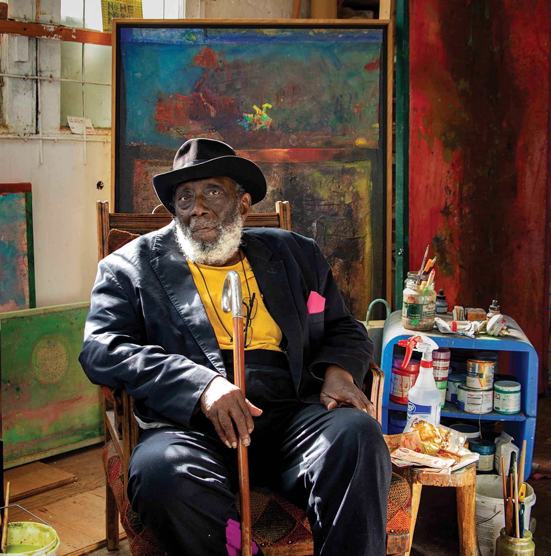 Portrait of Frank Bowling Photo: Sacha Bowlin