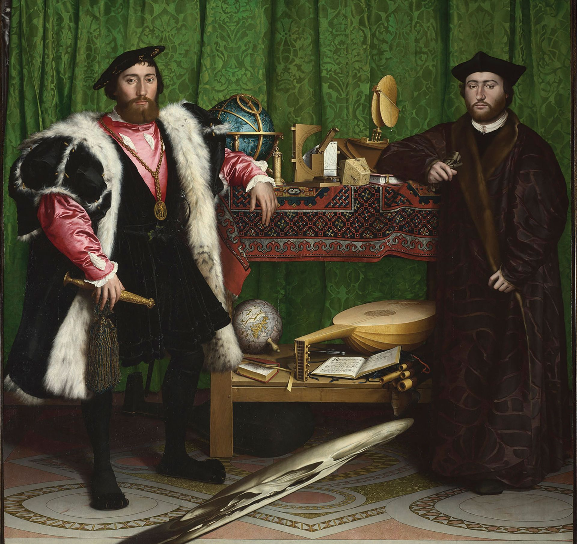 Hans Holbein the Younger, The Ambassadors (1533) was warped by water damage National Gallery, London