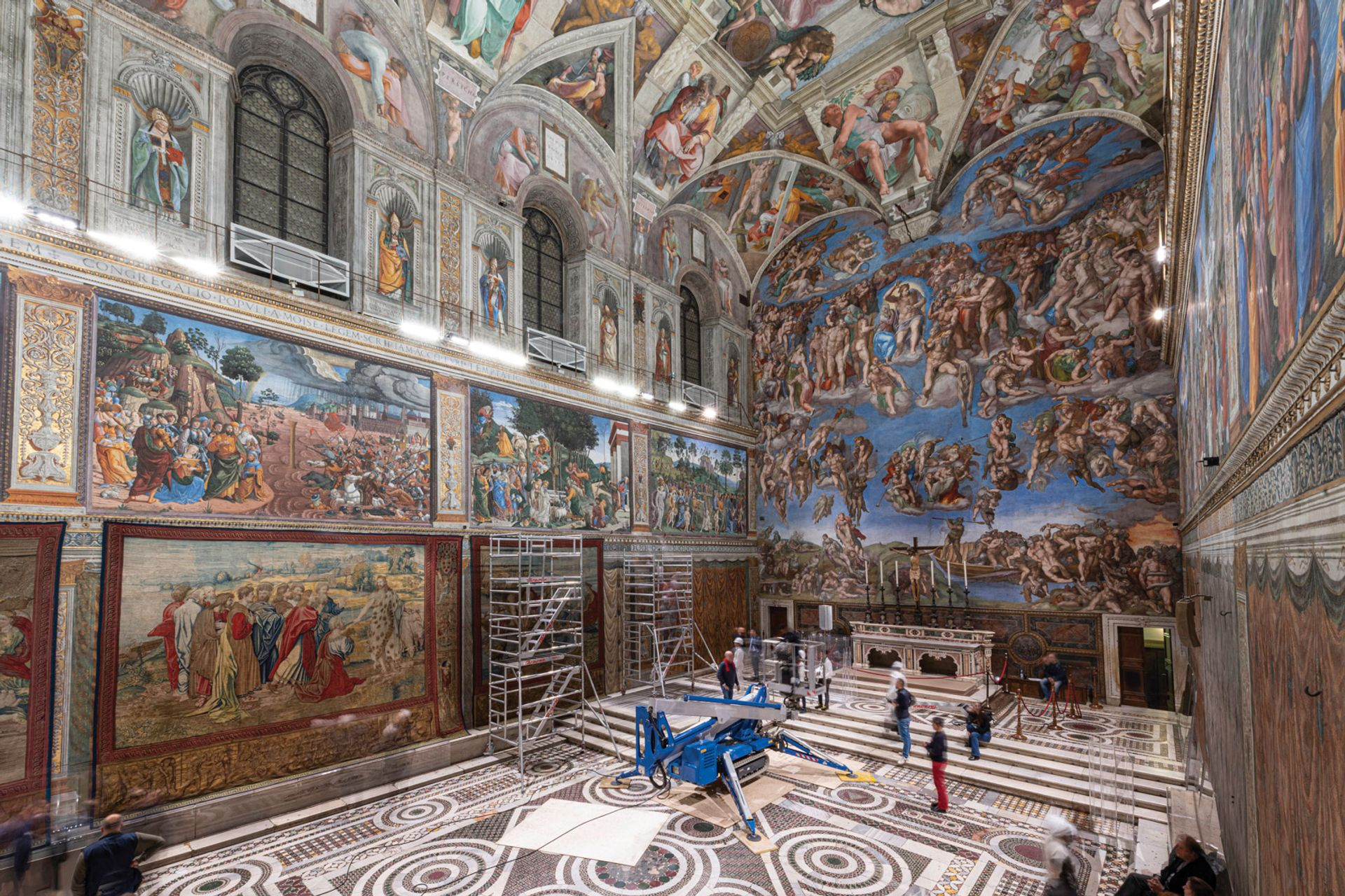 Pieter van Aelst's tapestries of the ten-piece set The Acts of the Apostles (1519-21), woven from large-scale gouache cartoons by Raphael (around 1515-16), on display in the Sistine Chapel © Governatorato SCV – Direzione dei Musei. Photo: Giampaolo Capone