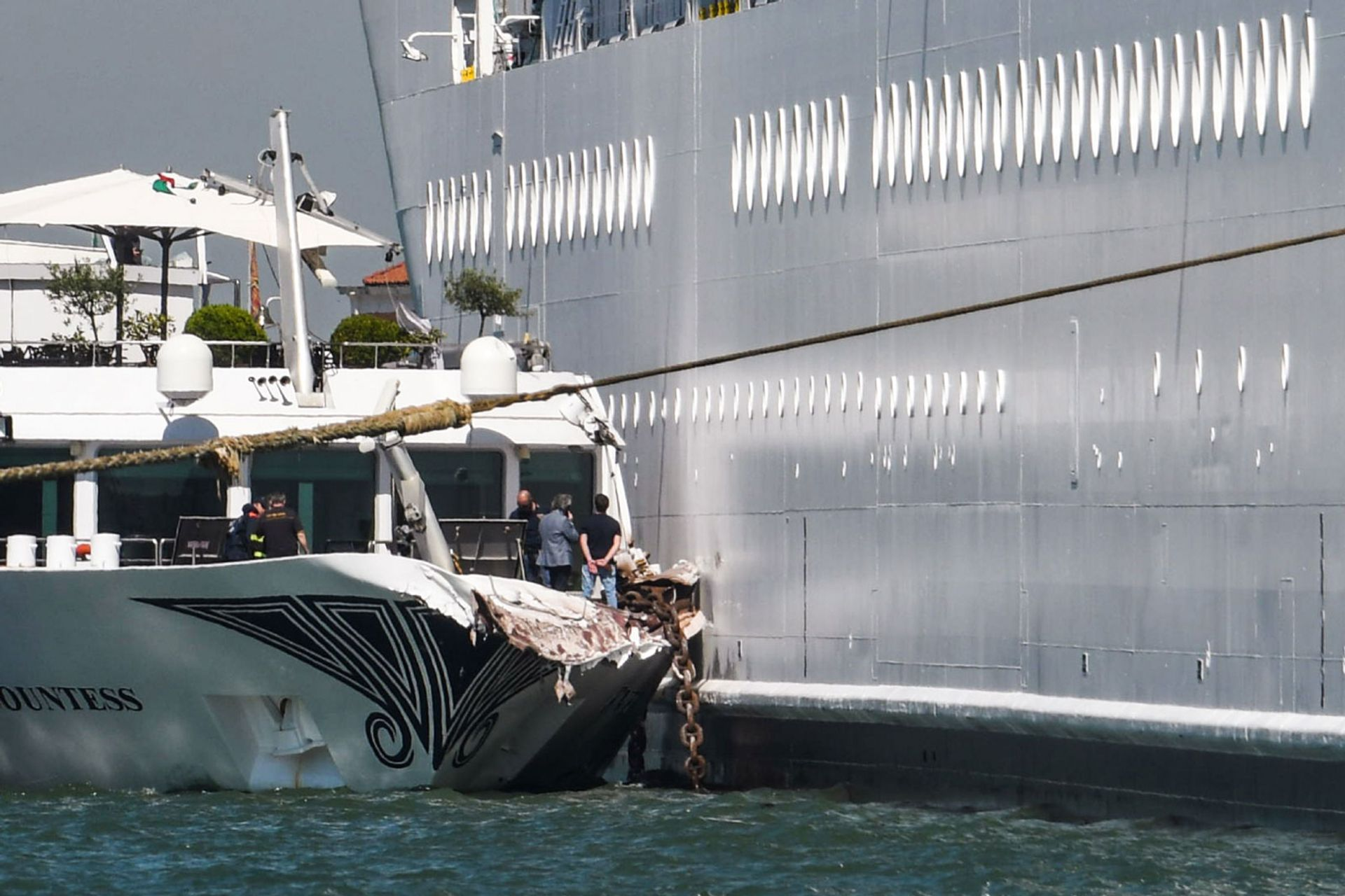 The River Countess tourist boat was hit by the MSC Opera cruise ship in Venice © Andrea Pattaro/AFP/Getty Images