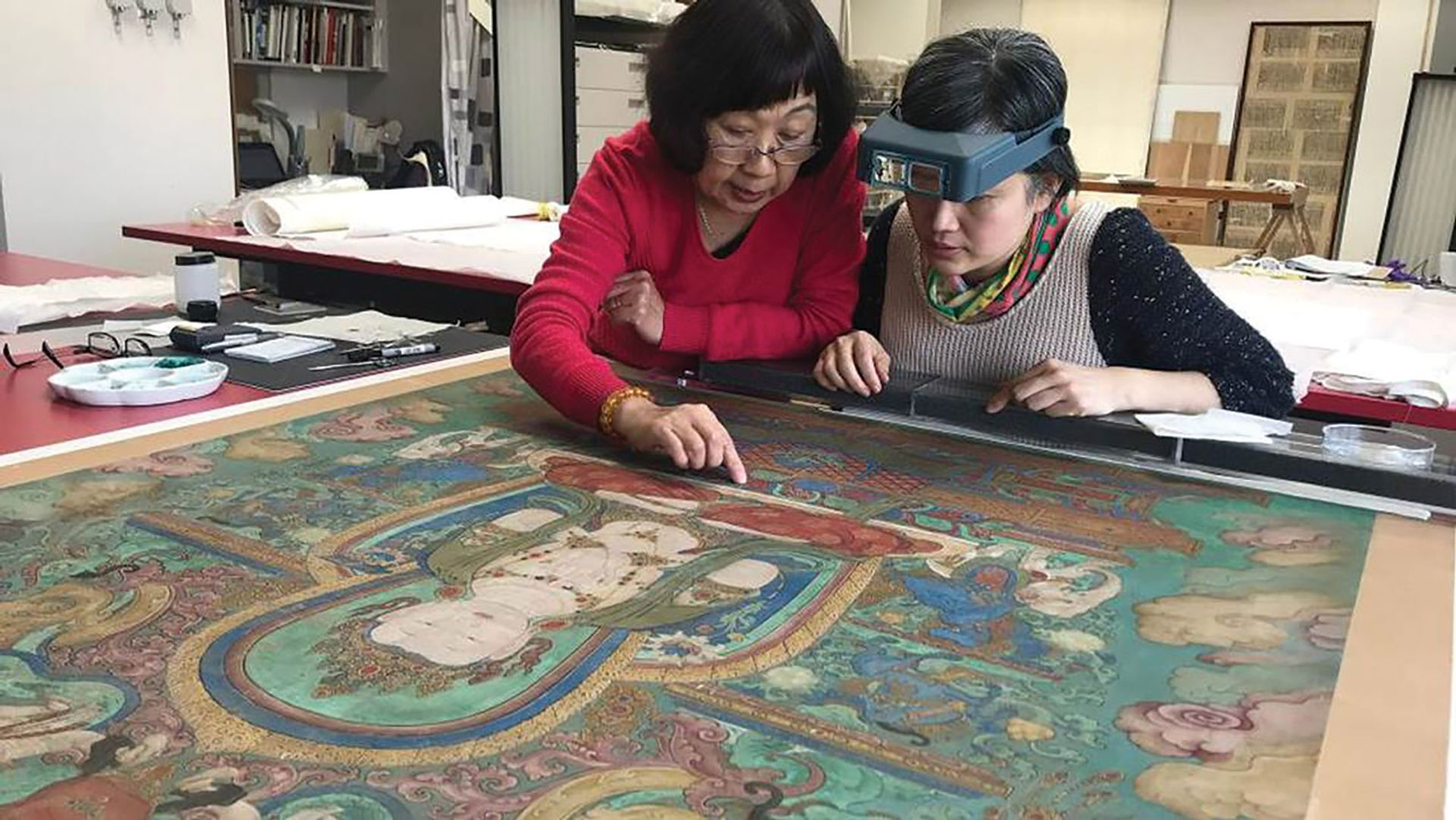 Conservators restore a Chinese painting  on silk Cleveland Museum of Art