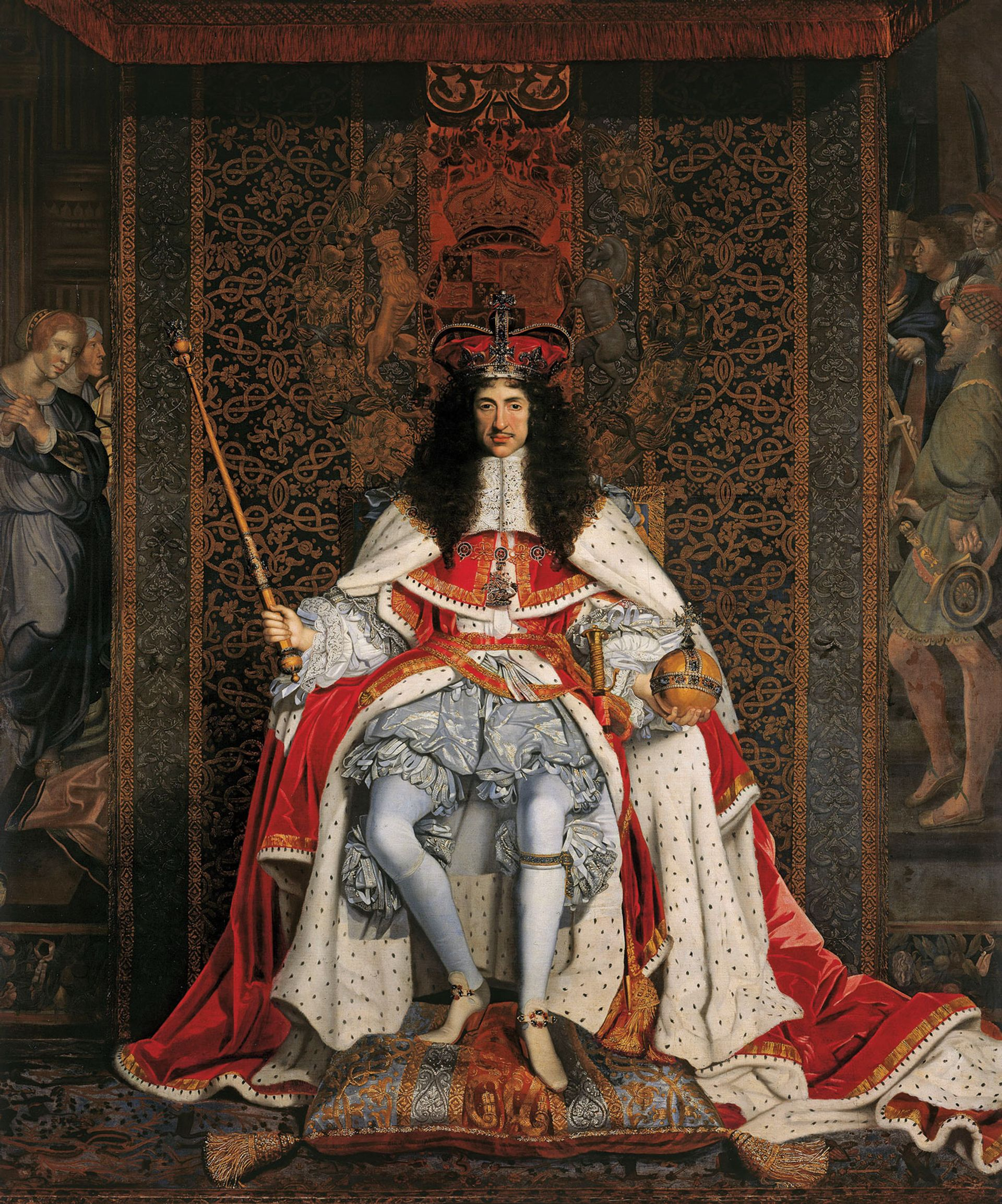 With all the trappings of power: Charles II, in a portrait (around 1676) by John Michael Wright Royal Collection Trust; © Her Majesty Queen Elizabeth II, 2017