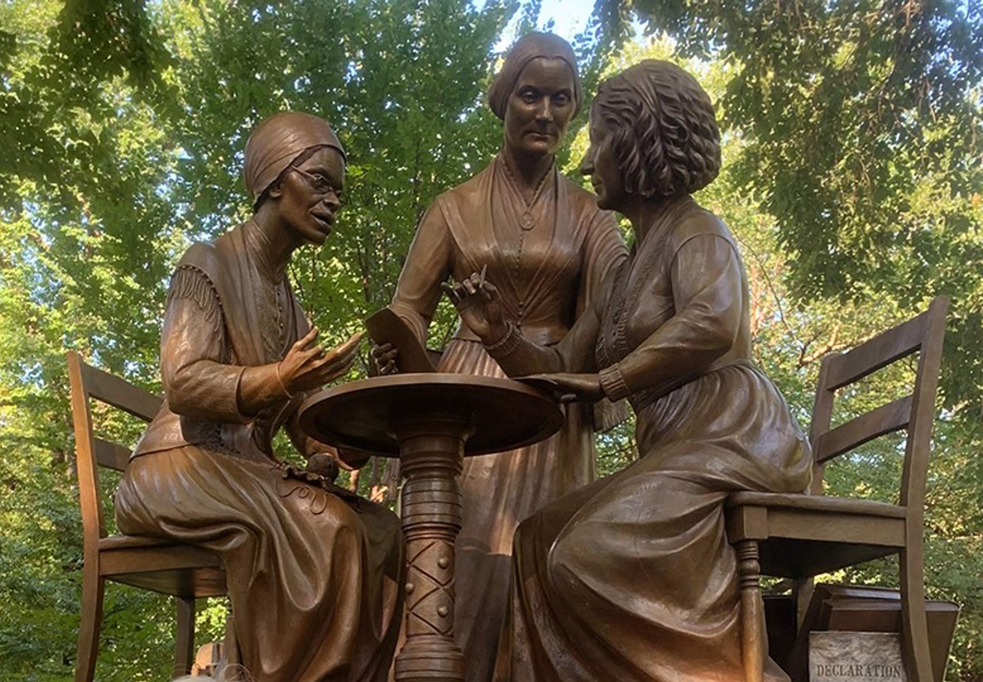 The sculpture depicting Susan B. Anthony, Elizabeth Cady Stanton and Sojourner Truth in Central Park
