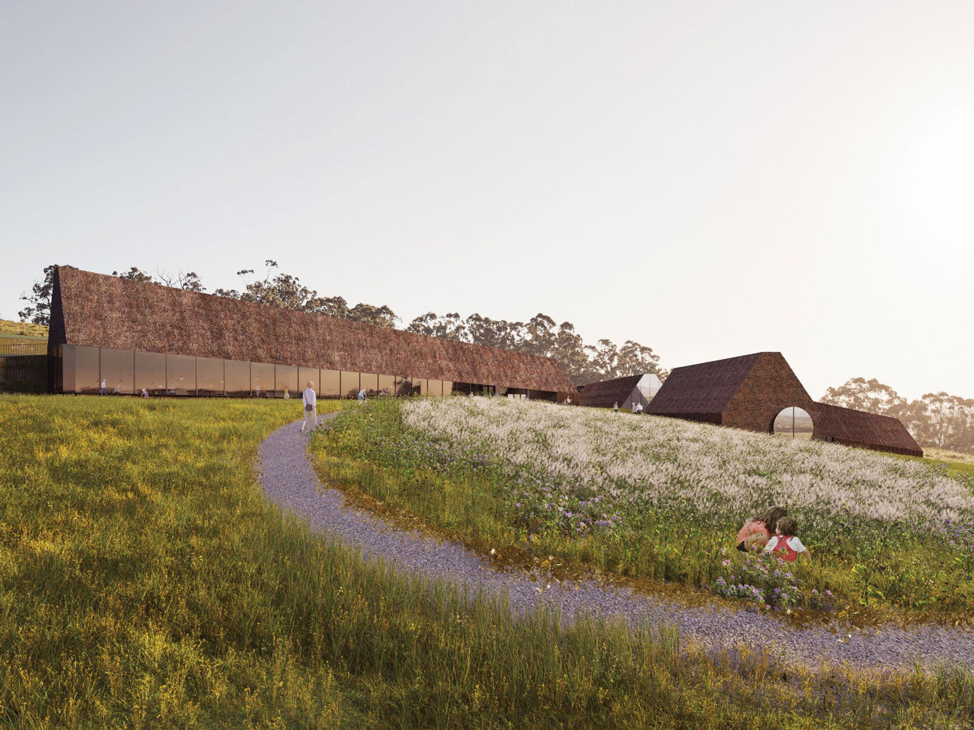 A rendering of Rosemaur Gallery, a proposed A$50m ($39m) new museum 40km east of Melbourne that would house works by Francis Bacon, Lucian Freud, Gustav Klimt, Egon Schiele as well as a bird sanctuary, a landscaped garden and a fine-dining restaurant © Architecture Associates