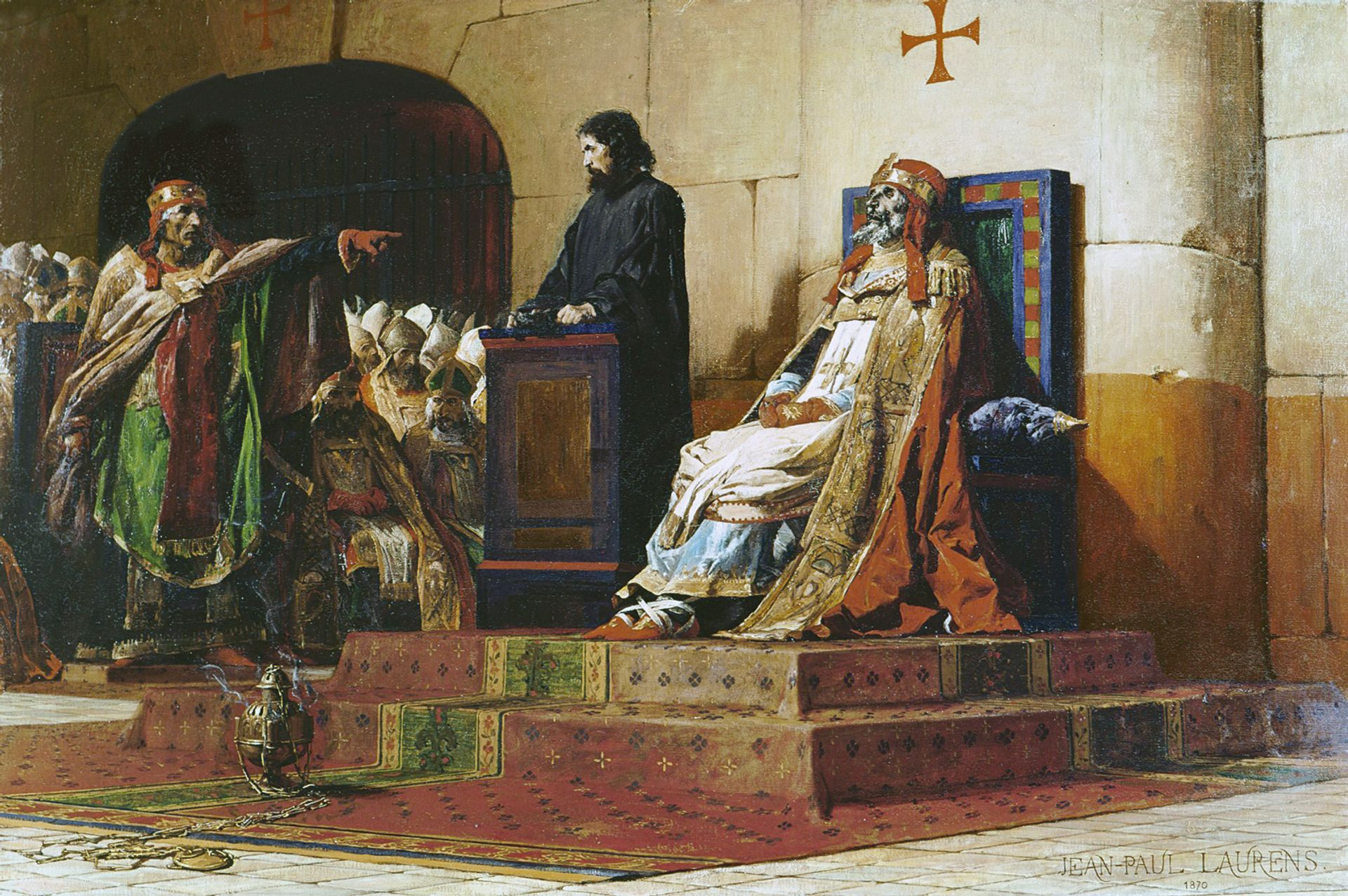 Anticlerical: Jean-Paul Laurens painted Pope Formosus and Stephen VII (1870) as a historic pointer to the church's backwardness and barbarity The artist