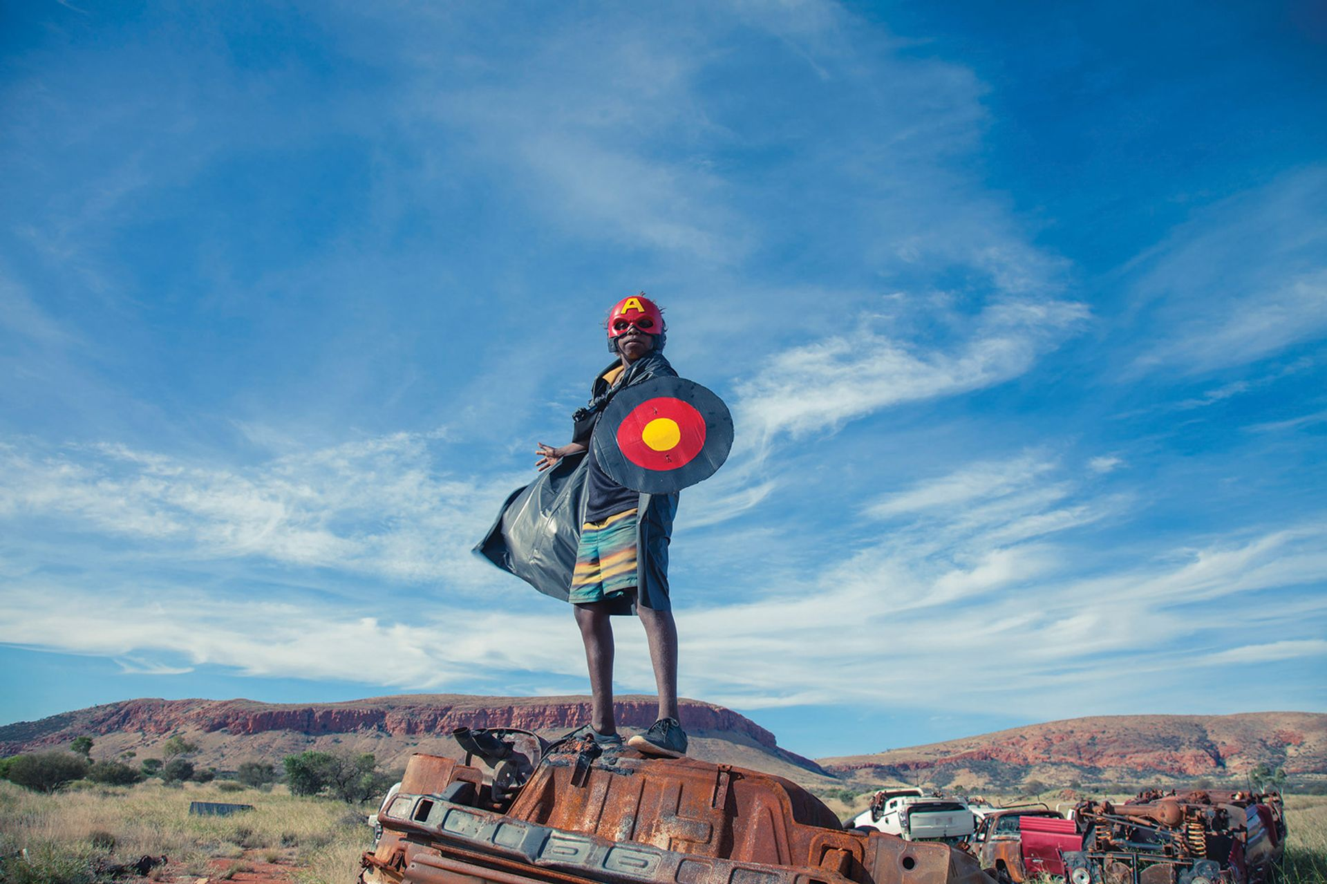 Warakurna Superheroes #1 (2017), by Tony Albert, David C. Collins and Kieran Lawson, is part of a series on show in the redeveloped museum Photo: courtesy of Sullivan+Strumpf