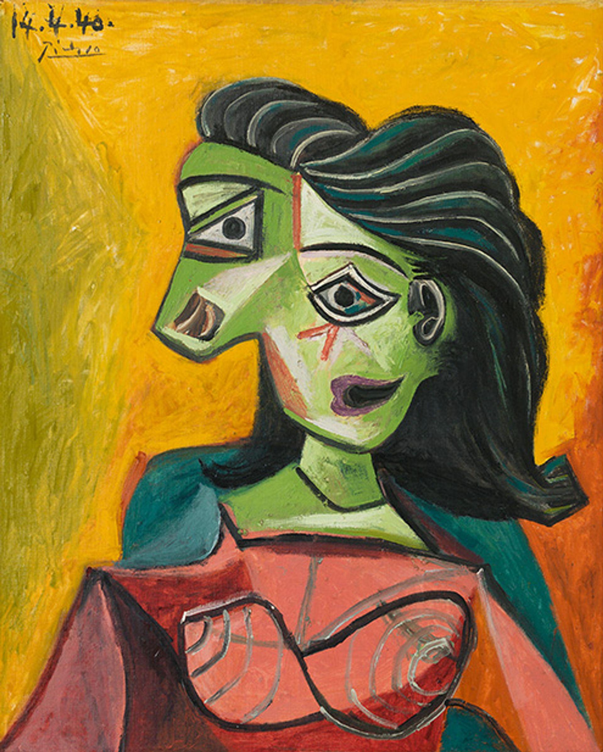 Picasso's Buste de femme (Dora Maar), 1940 © 2019 Estate of Pablo Picasso/Artist Rights Society (ARS), New York. Photo: Erich Koyama. Courtesy Gagosian.