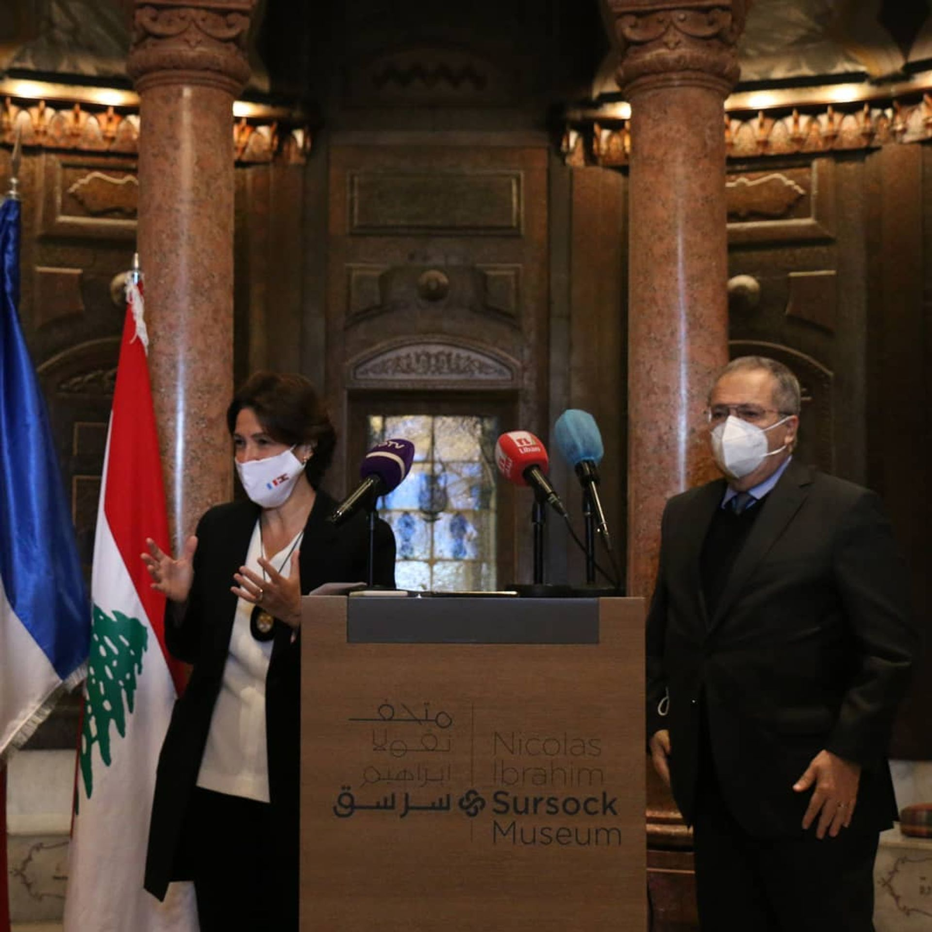 France's ambassador to Lebanon, Anne Grillo (left), has announced a grant of €500,000 from the French culture ministry to support the Sursock Museum's recovery after the Beirut explosion on 4 August 2020 Photo: Rowina Bou-Harb