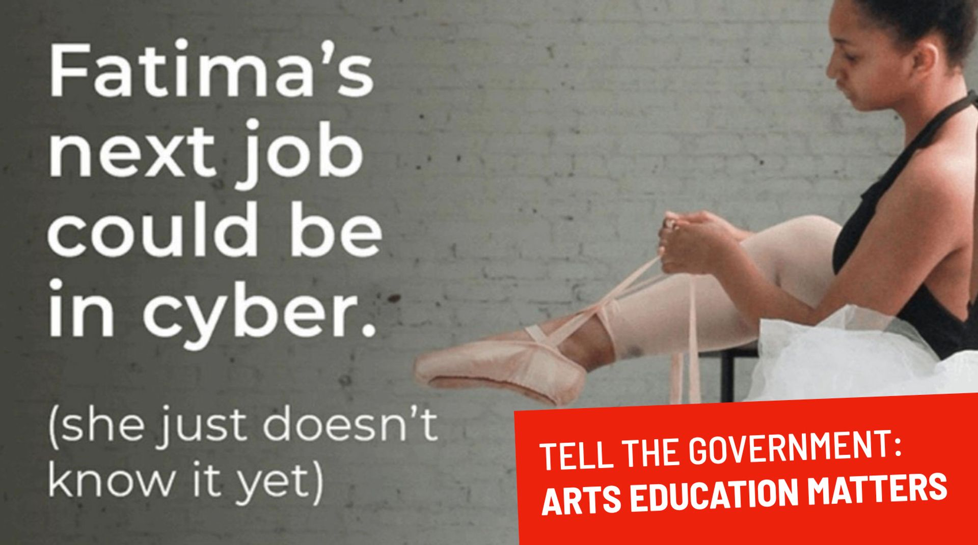 The UK government faced a huge backlash in October last year when it released an advertising campaign that encouraged those in the arts to reskill for technology jobs Courtesy of Public Campaign for the Arts