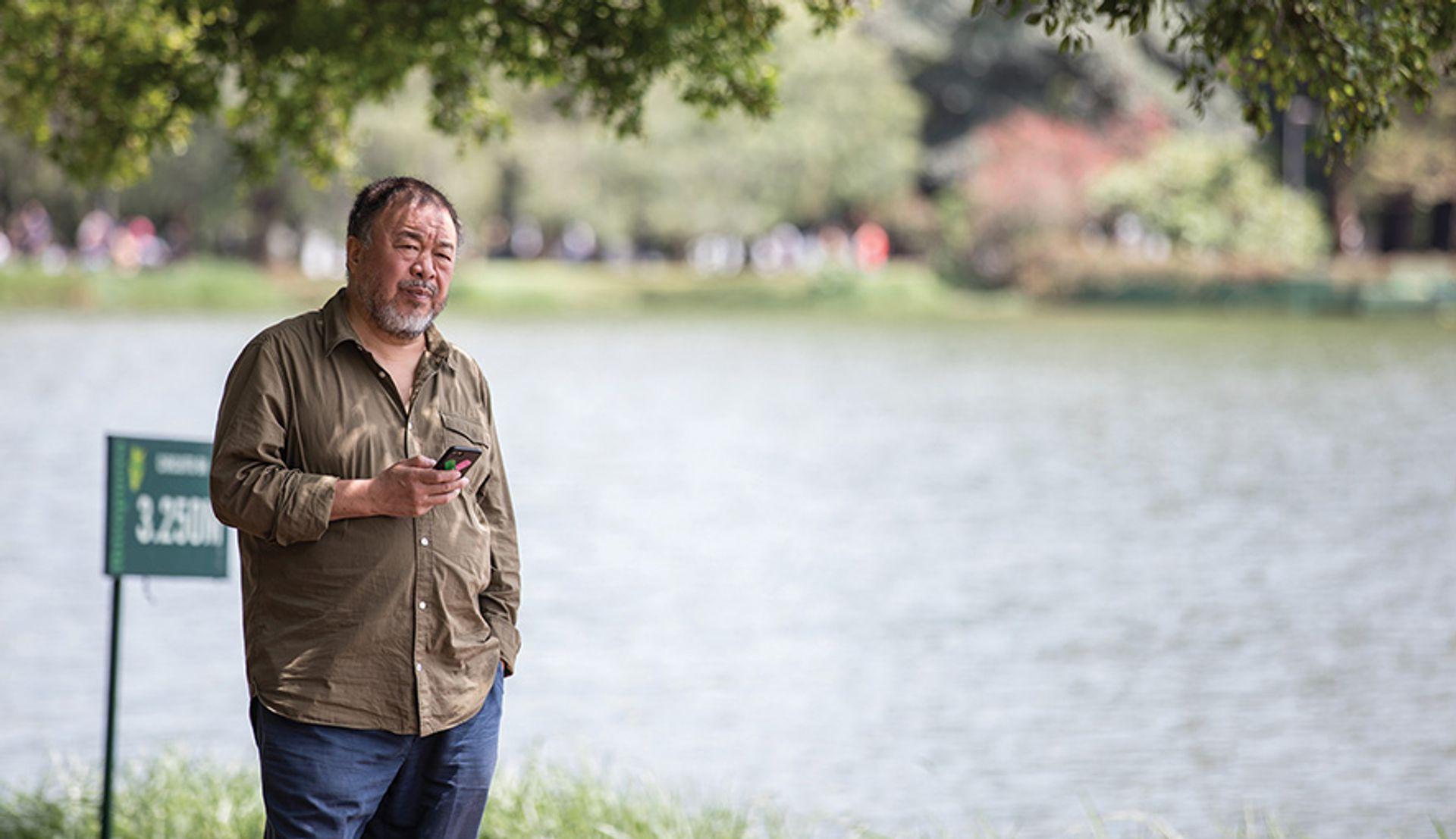 Ai Weiwei by the Ibirapuera Park lake in Sao Paulo, where he recently had an exhibition Photo: Carol Quintanilha