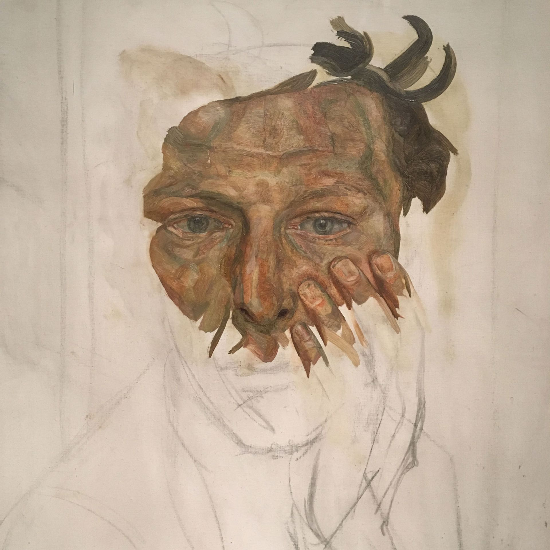 Detail of Lucian Freud's Self-portrait (around 1956)