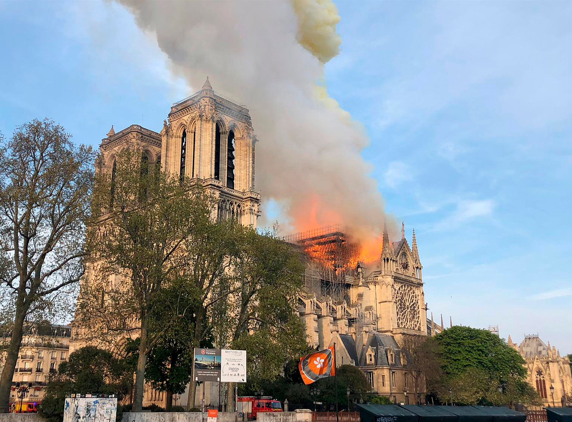 Plumes of smoke fill the air from a fire at Notre Dame Cathedral in Paris © AP Photo