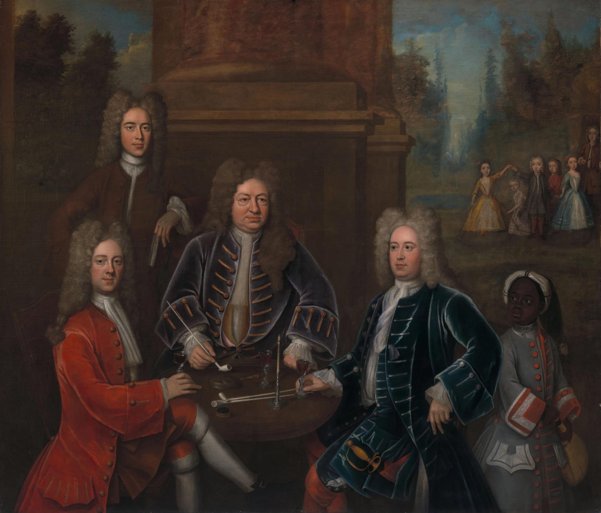 A portrait of Elihu Yale with Members of His Family and an Enslaved Child (around 1719), attributed to John Verelst. Courtesy of the Yale Center for British Art