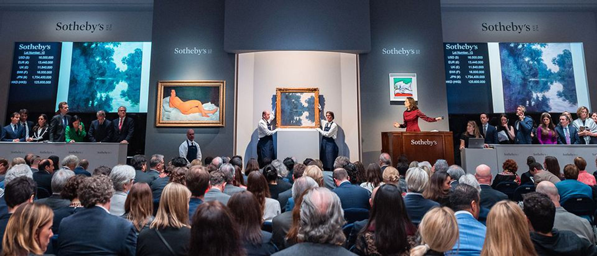 Sotheby's profits were dented by a squeeze on both seller and buyer commission charges, as auction houses forced to cut competitive deals for both consignors and third-party guarantors in order to secure high-value works such as Amedeo Modigliani's Nu couché, which sold in May on its low estimate of $150m to an irrevocable bidder. Courtesy of Sotheby's