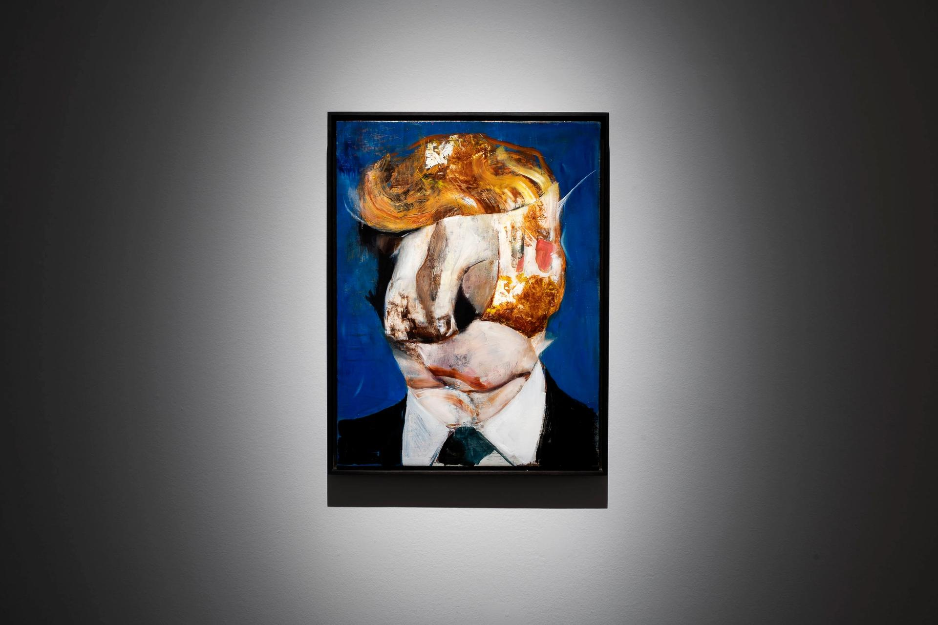 An installation image of one of Adrian Ghenie's Trump-inspired works, on show at the Palazzo Cini in Venice Courtesy Galerie Thaddaeus Ropac, Paris, London, Salzburg; and Fondazione Giorgio Cini Onlus, Venice. Photo: Matteo Defina