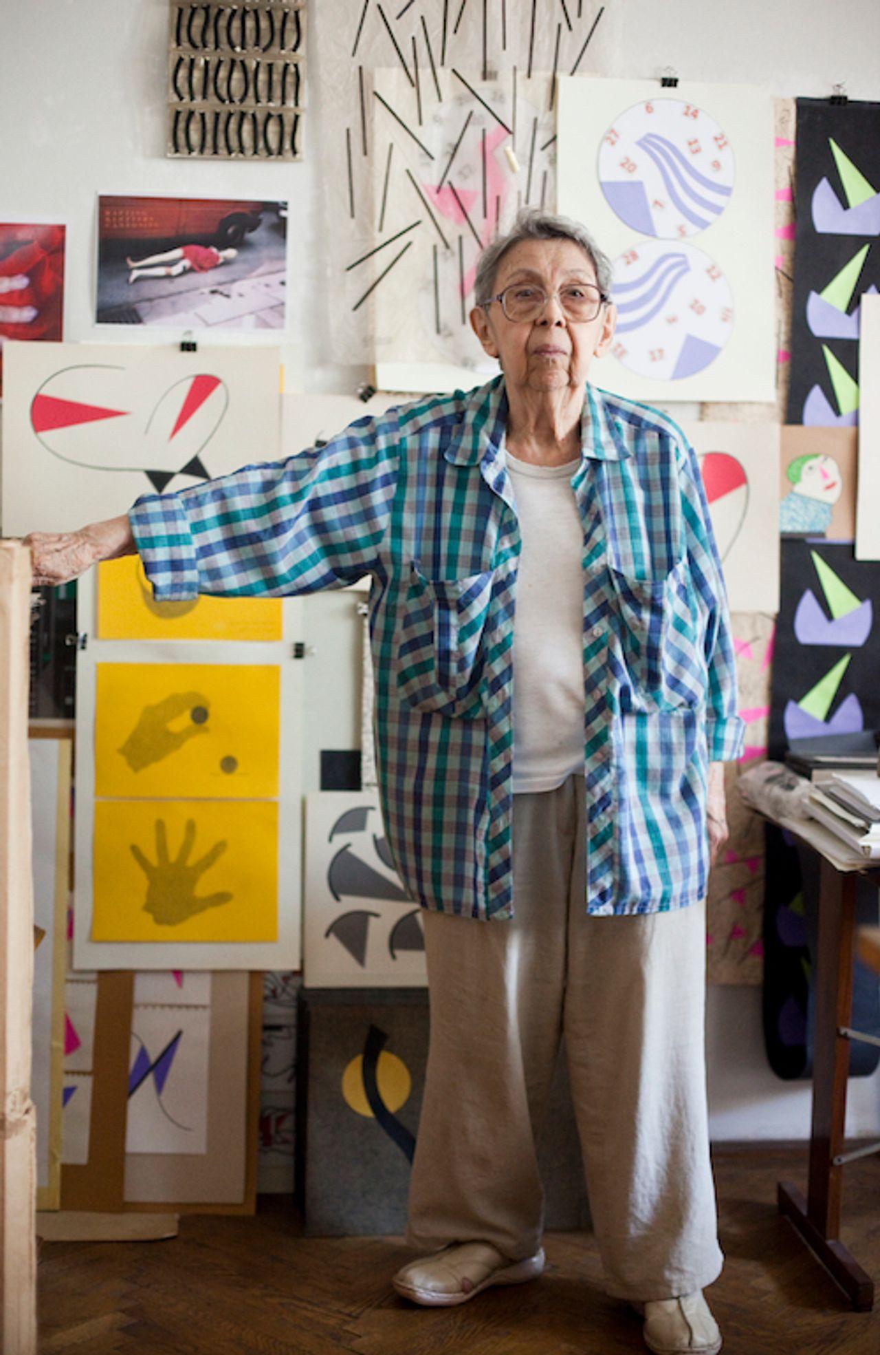 Geta Brătescu in her studio, where she continued to work every day Photo: Stefan Sava