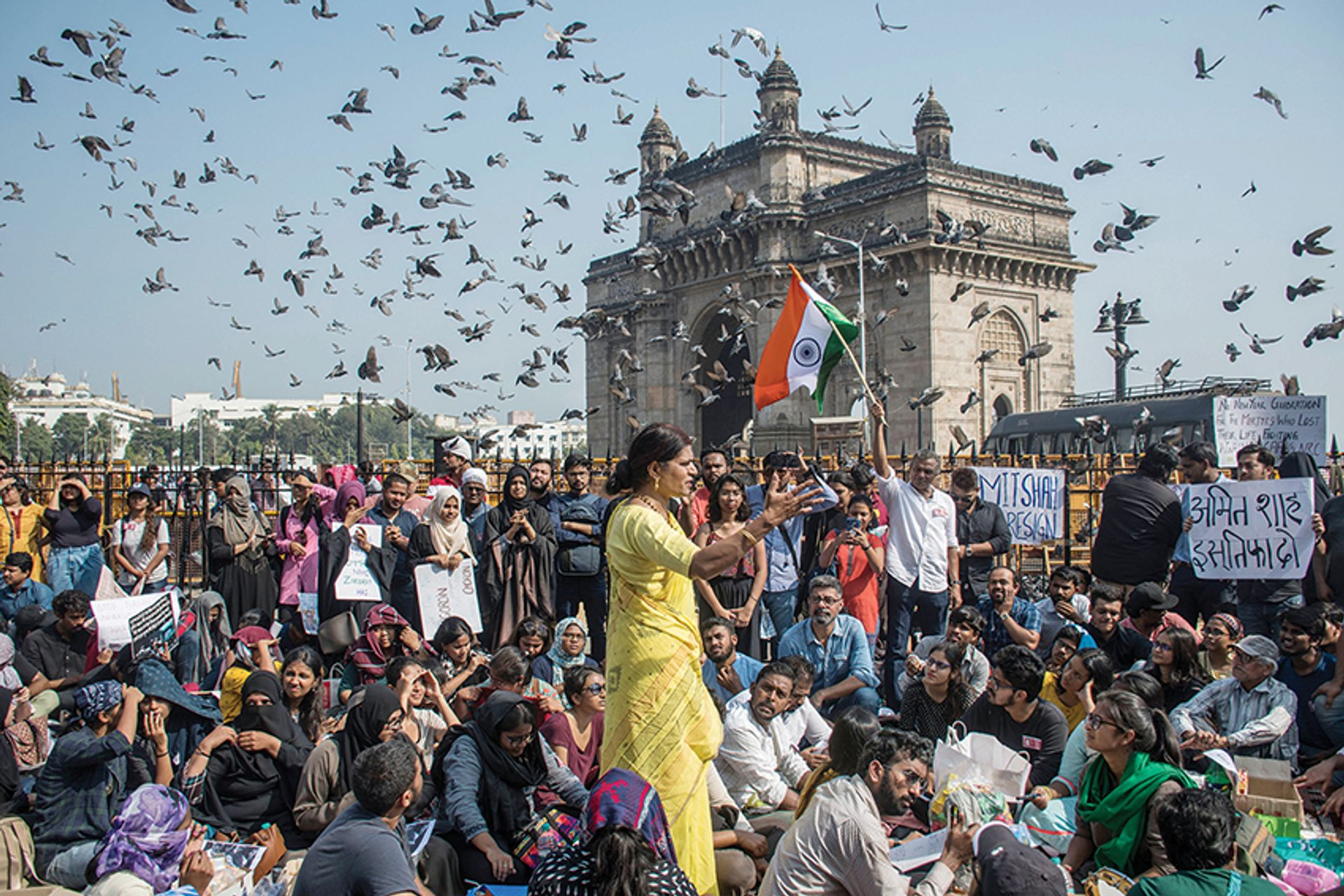 Protesters against the recent attacks on JNU students and teachers gather at the Gateway of India in Mumbai Pratik Chorge/Hindustan Times via Getty Images