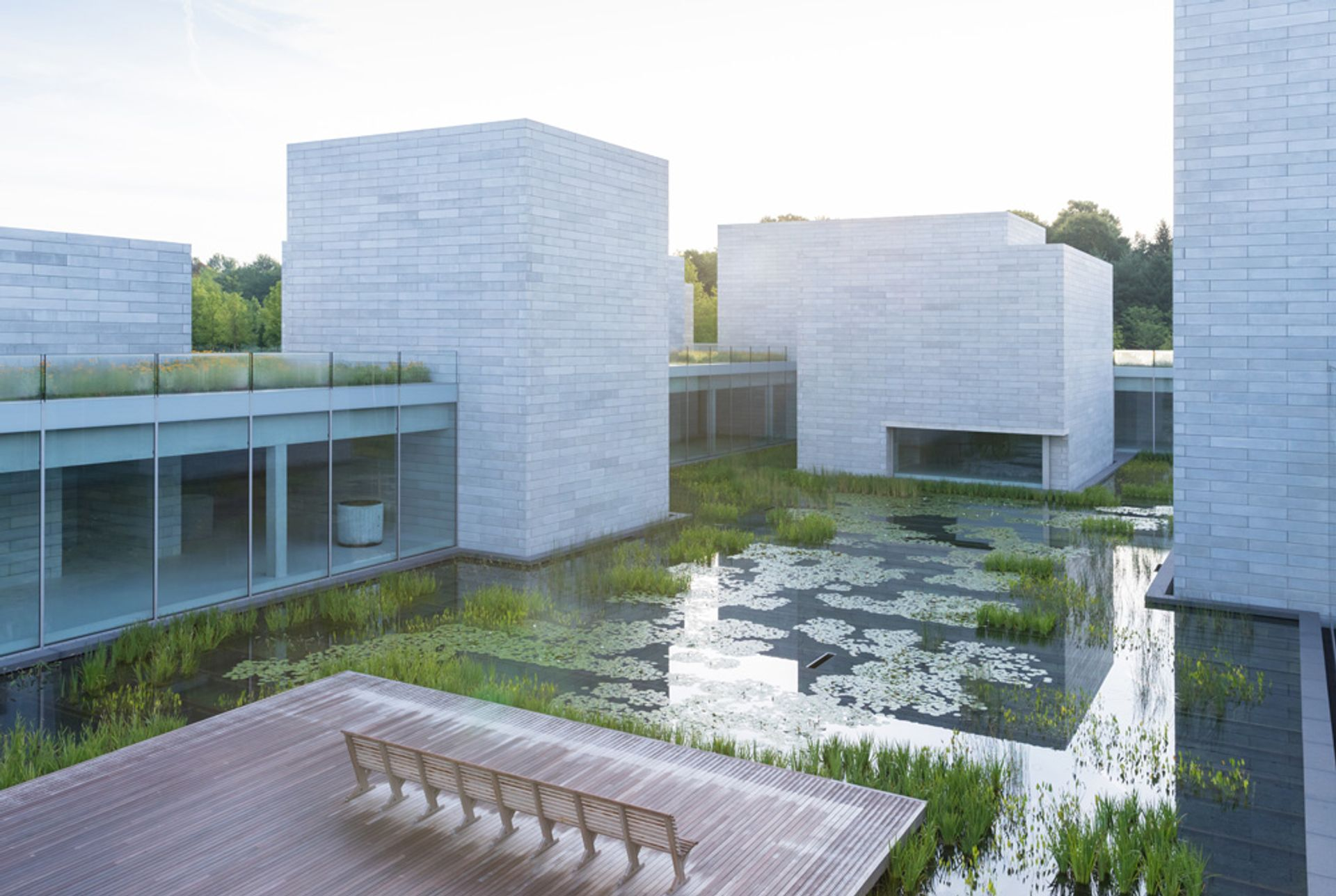 The water court at the Pavilions, opening at Glenstone on 4 October Iwan Baan; courtesy of Glenstone Museum