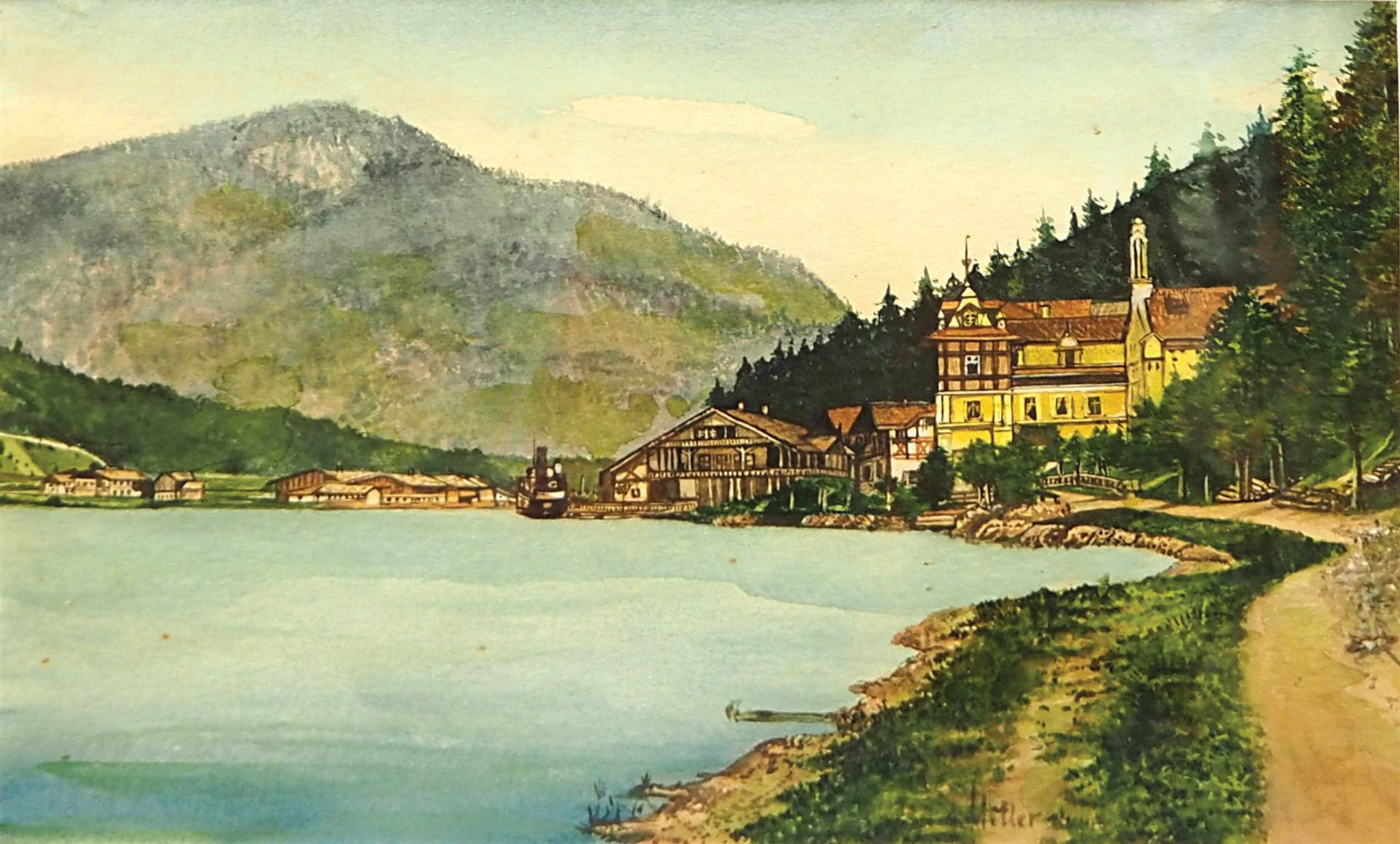 Village by a Mountain Lake, signed A. Hitler, was not among the works seized from Weidler as suspected forgeries. It is still seeking a buyer. Auktionhaus Weidler