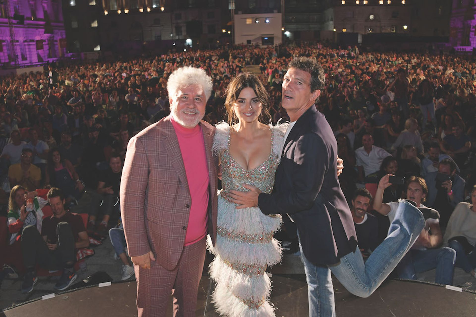 Pedro Almodóvar with Pain and Glory stars Penélope Cruz and Antonio Banderas at the open-air premiere Dave Benett