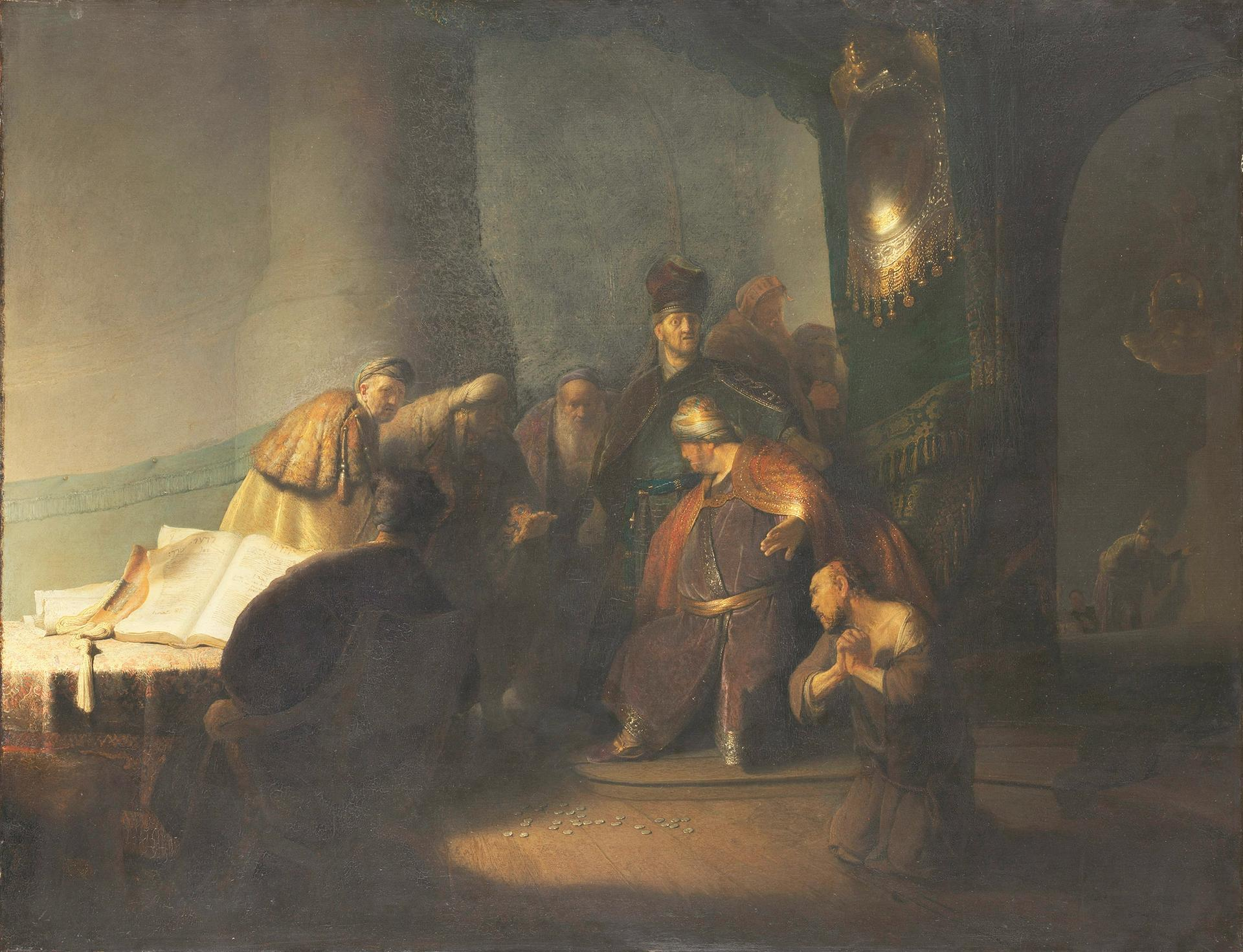 Rembrandt van Rijn's Judas Returning the Thirty Pieces of Silver (1629) © Private Collection. Photography courtesy of the National Gallery