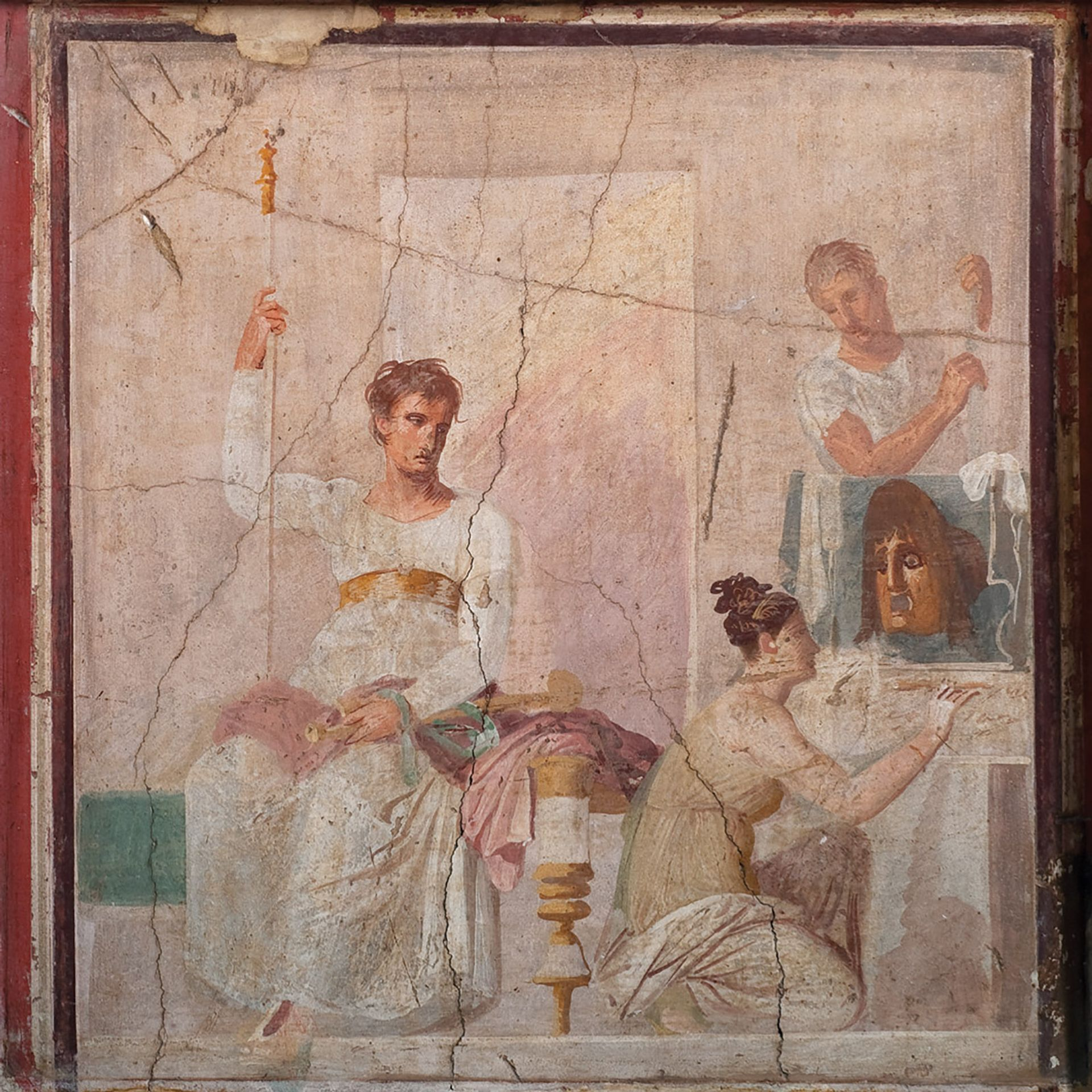 A fresco from Herculaneum (AD30-AD40) of an actor dressed as king, and female figure with a small painting of a mask Museo Archeologico Nazionale di Napoli