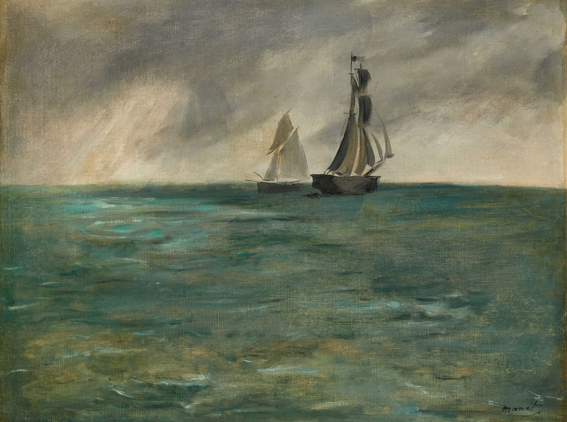 Edouard Manet, Stürmische See (Ships at Sea in Stormy Weather, 1873) © Mick Vincenz © Kunstmuseum Bern und Kunst- und Ausstellungshalle der Bundesrepublik Deutschland GmbH